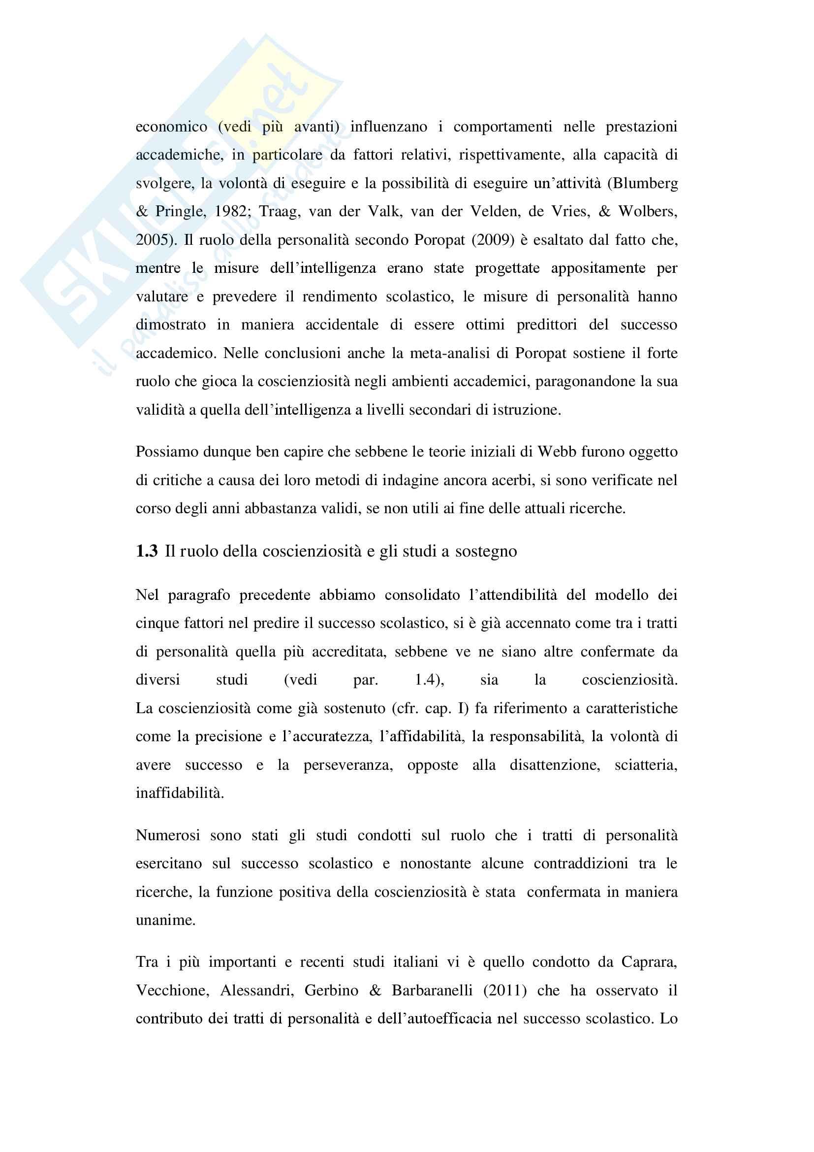 Tratti di personalità e successo scolastico: il ruolo della coscienziosità Pag. 21