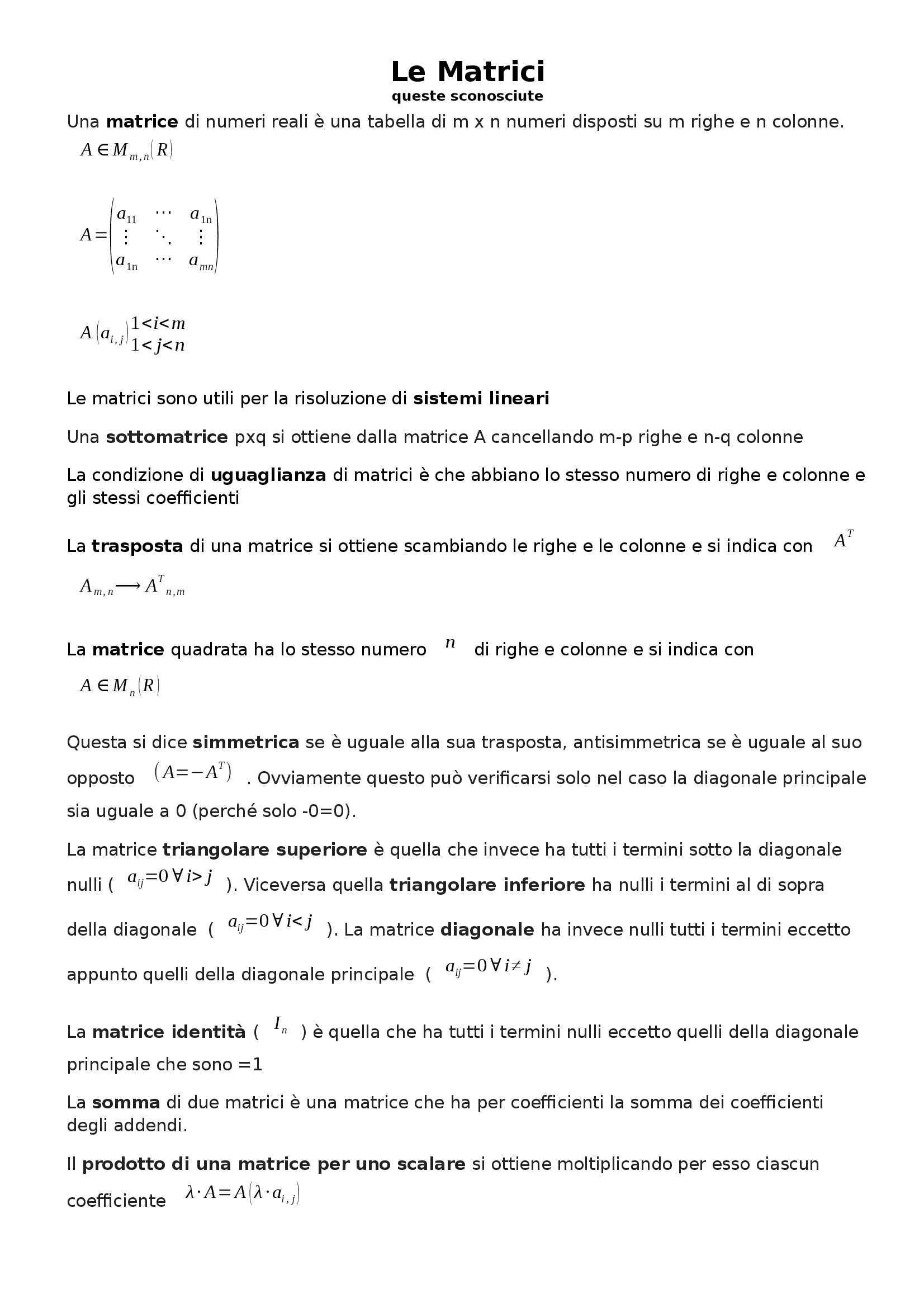 Analisi matematica I - matrici