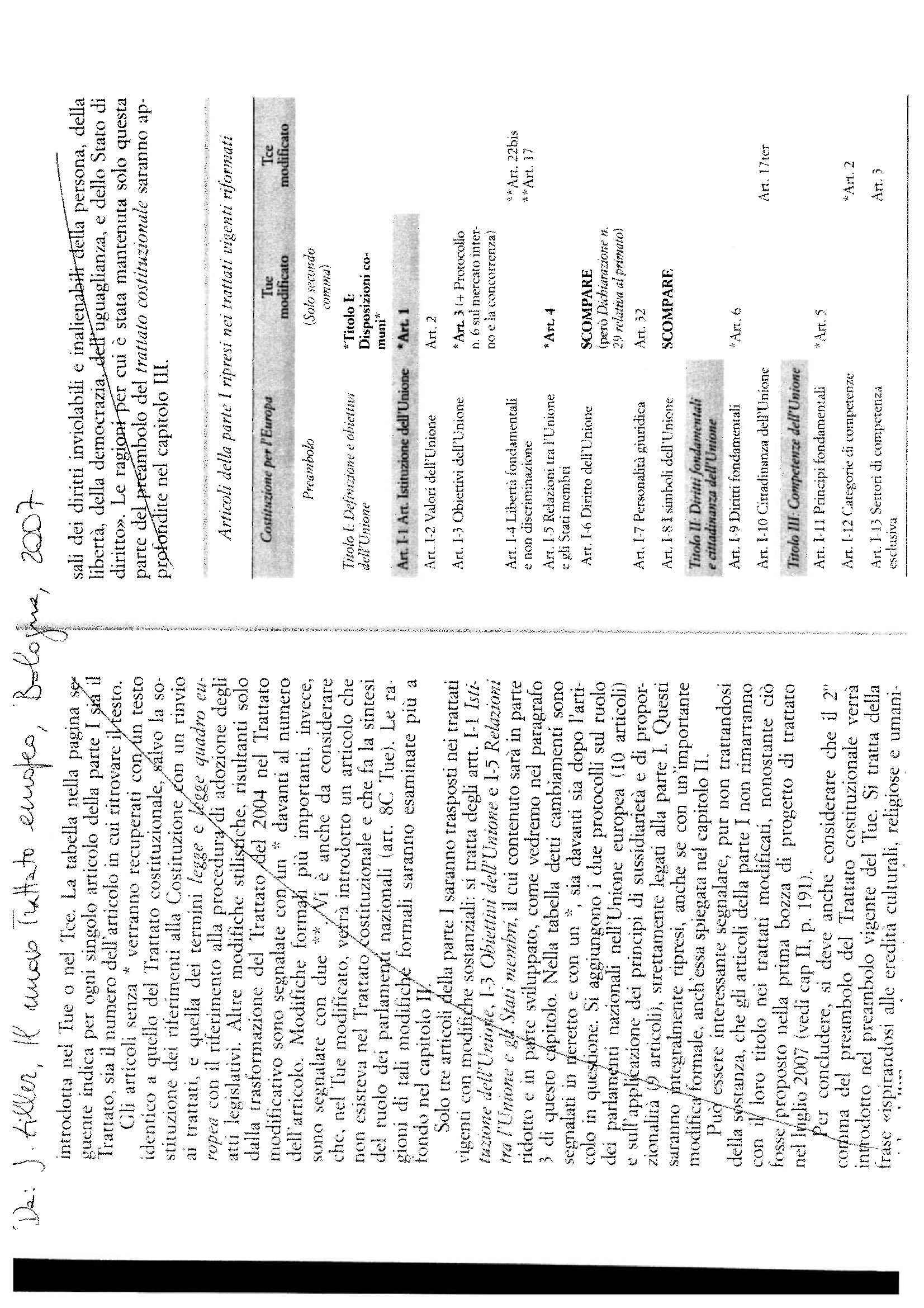 Trattato di Lisbona - Tabella di corrispondenza