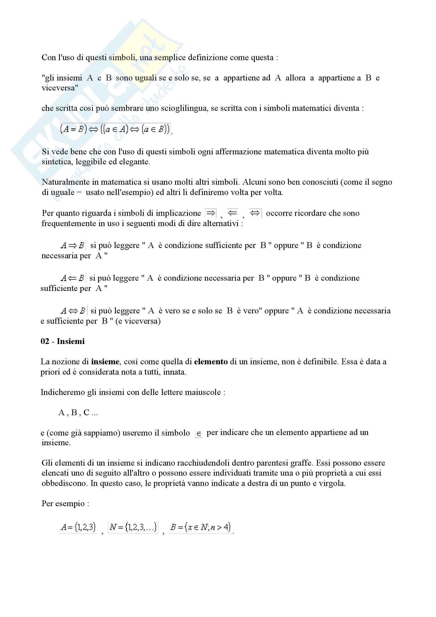 Matematica per le applicazioni I - insiemi Pag. 2