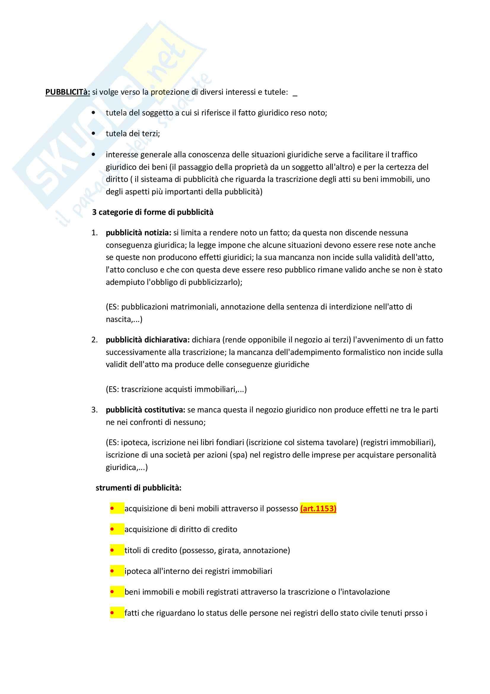 Pubblicità e trascrizione,  Diritto privato