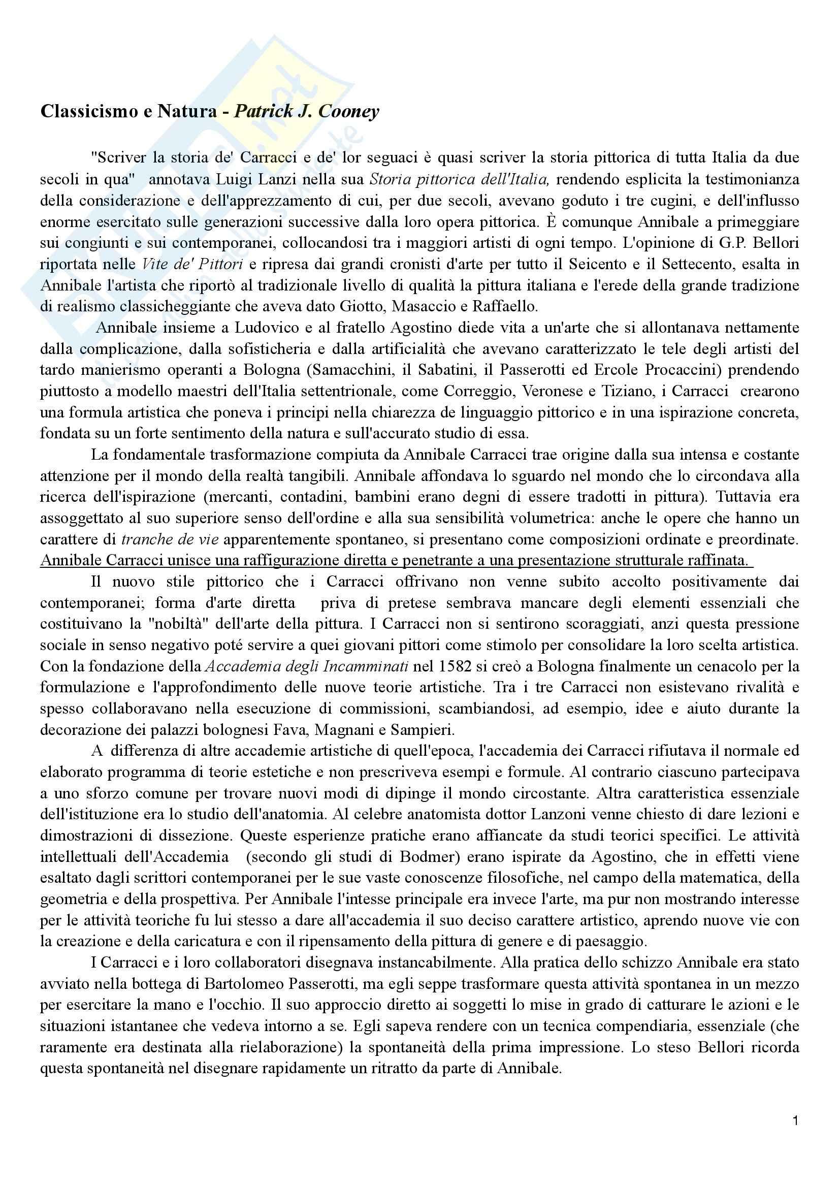 Riassunto esame Storia dell'Arte Moderna, prof. Benati, libro consigliato L'Opera Completa di Annibale Carracci, Cooney