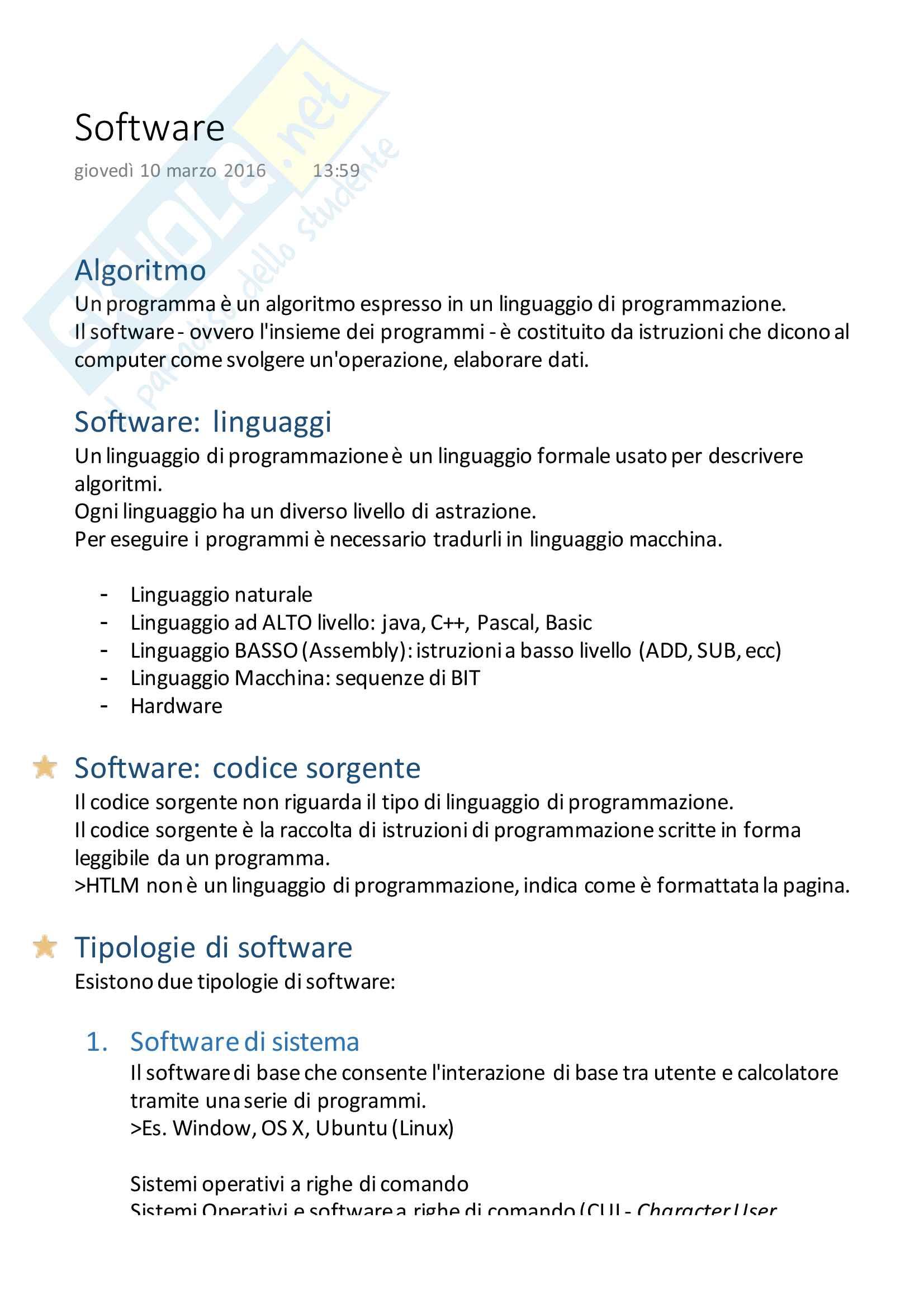Appunti del corso ''Informatica per la Comunicazione'', Andrea Davide Cuman, 3a Lezione - Software