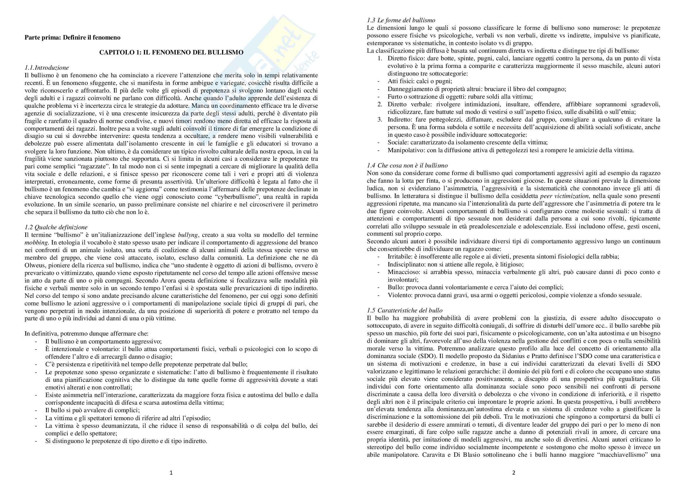 Riassunto esame Psicologia, prof. Serino, libro consigliato Psicologia sociale del bullismo