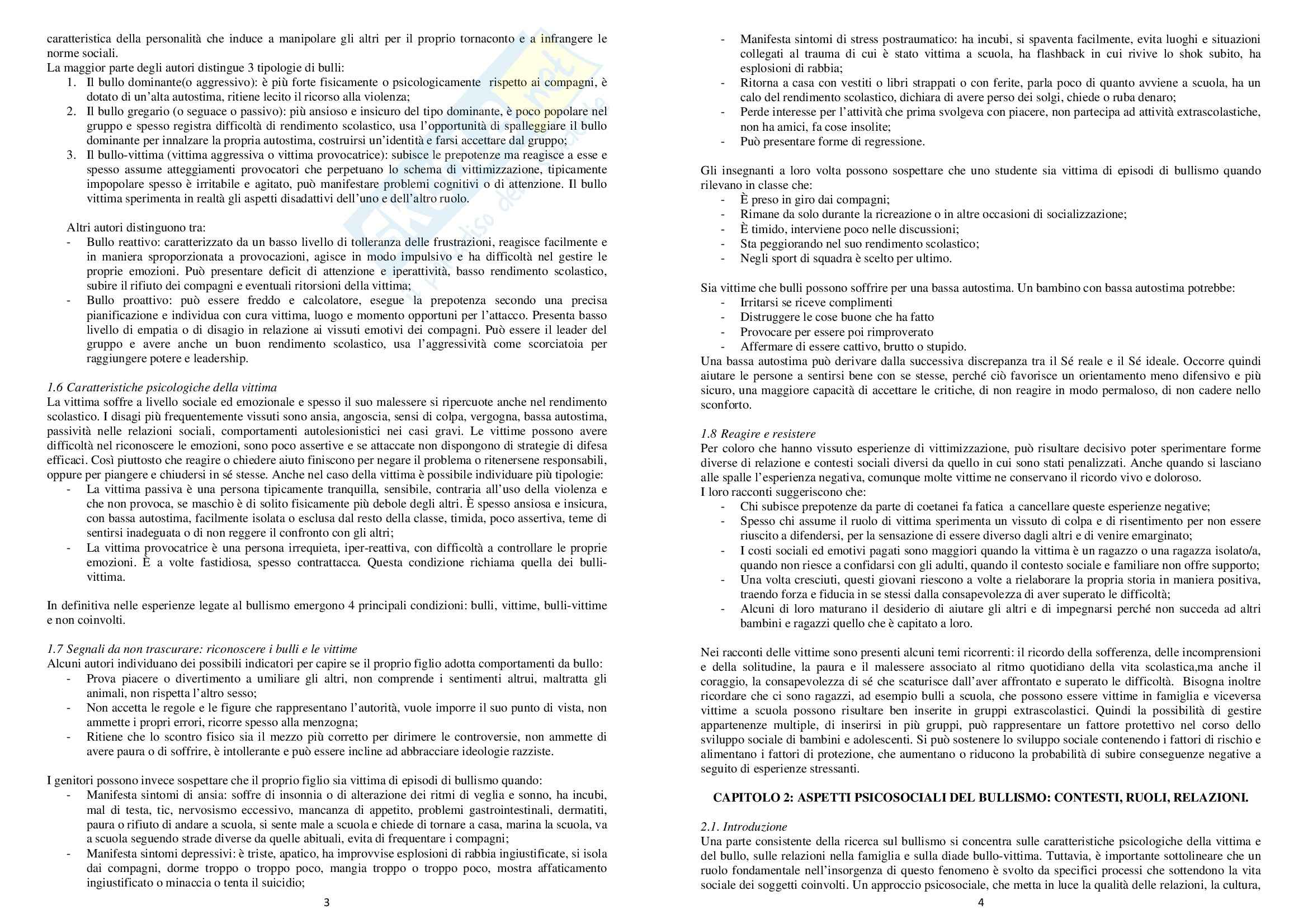 Riassunto esame Psicologia, prof. Serino, libro consigliato Psicologia sociale del bullismo Pag. 2