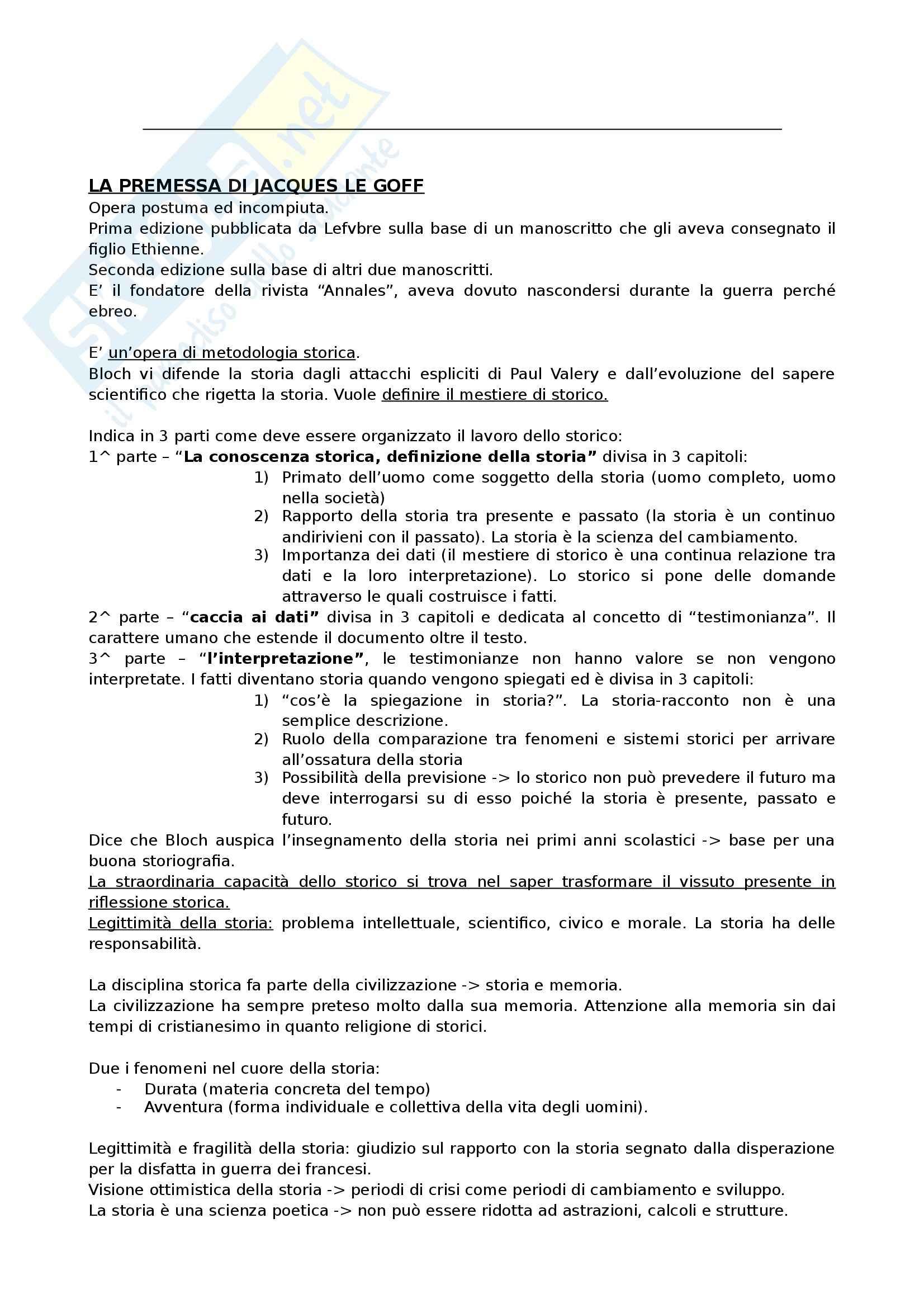 Riassunto esame Storia Medievale, prof. Marini, libro consigliato Apologia della storia, Bloch