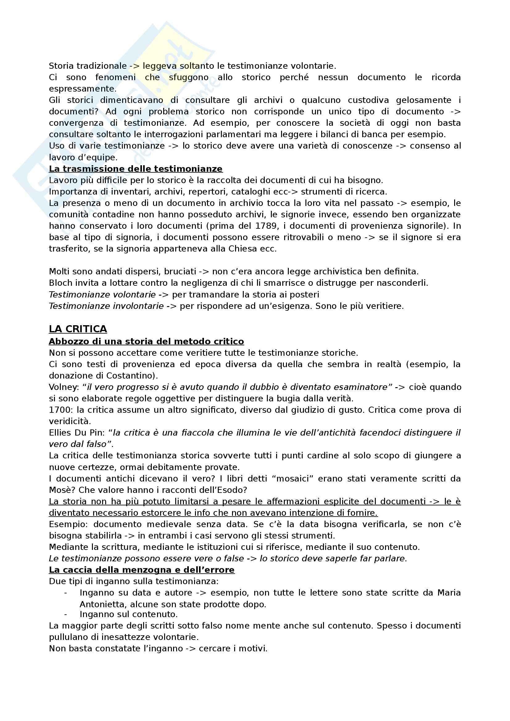 Riassunto esame Storia Medievale, prof. Marini, libro consigliato Apologia della storia, Bloch Pag. 6