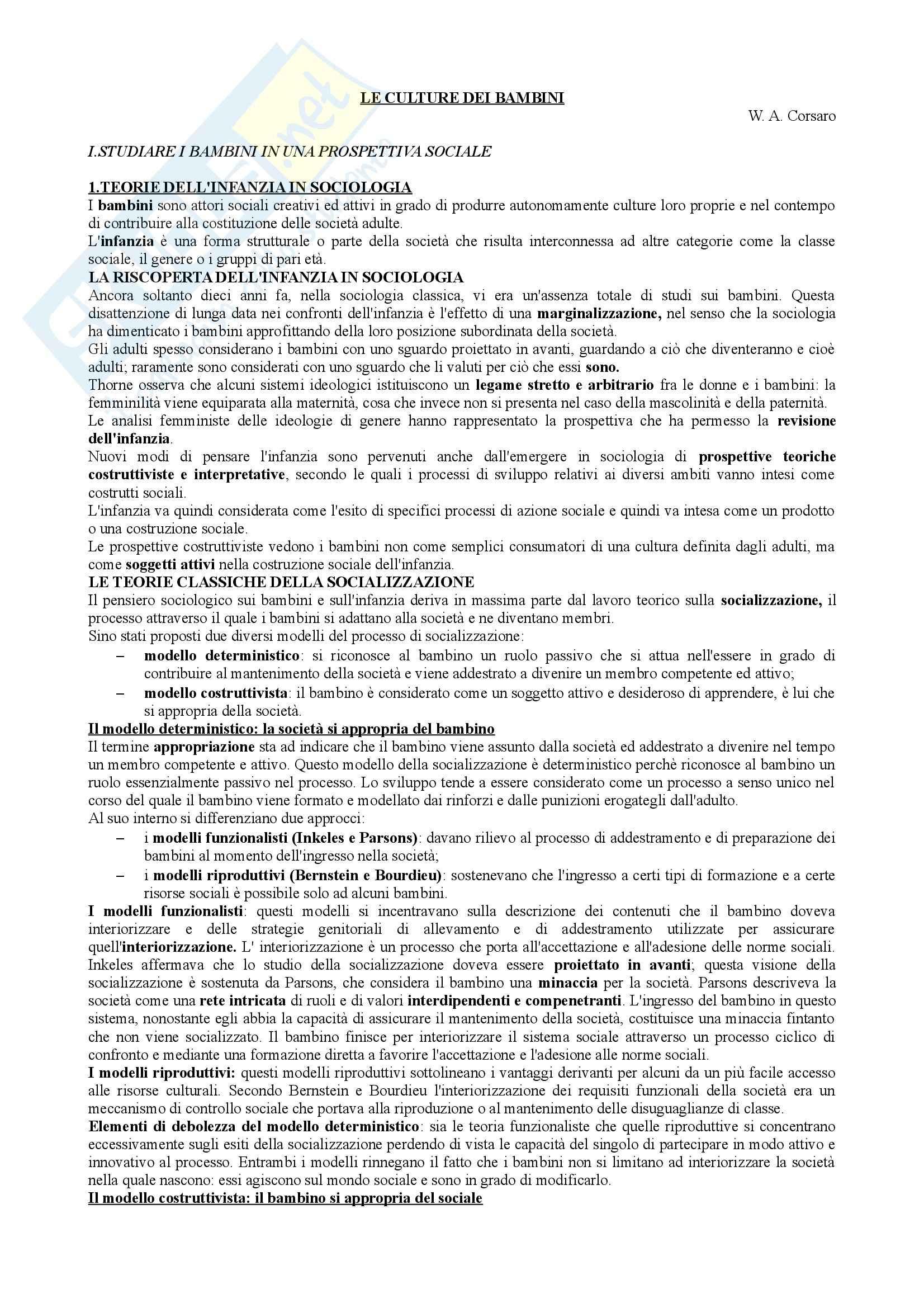 Riassunto esame Teorie e Metodi dell'Educazione, prof. Mortari, libro consigliato Le Culture dei Bambini, Corsaro