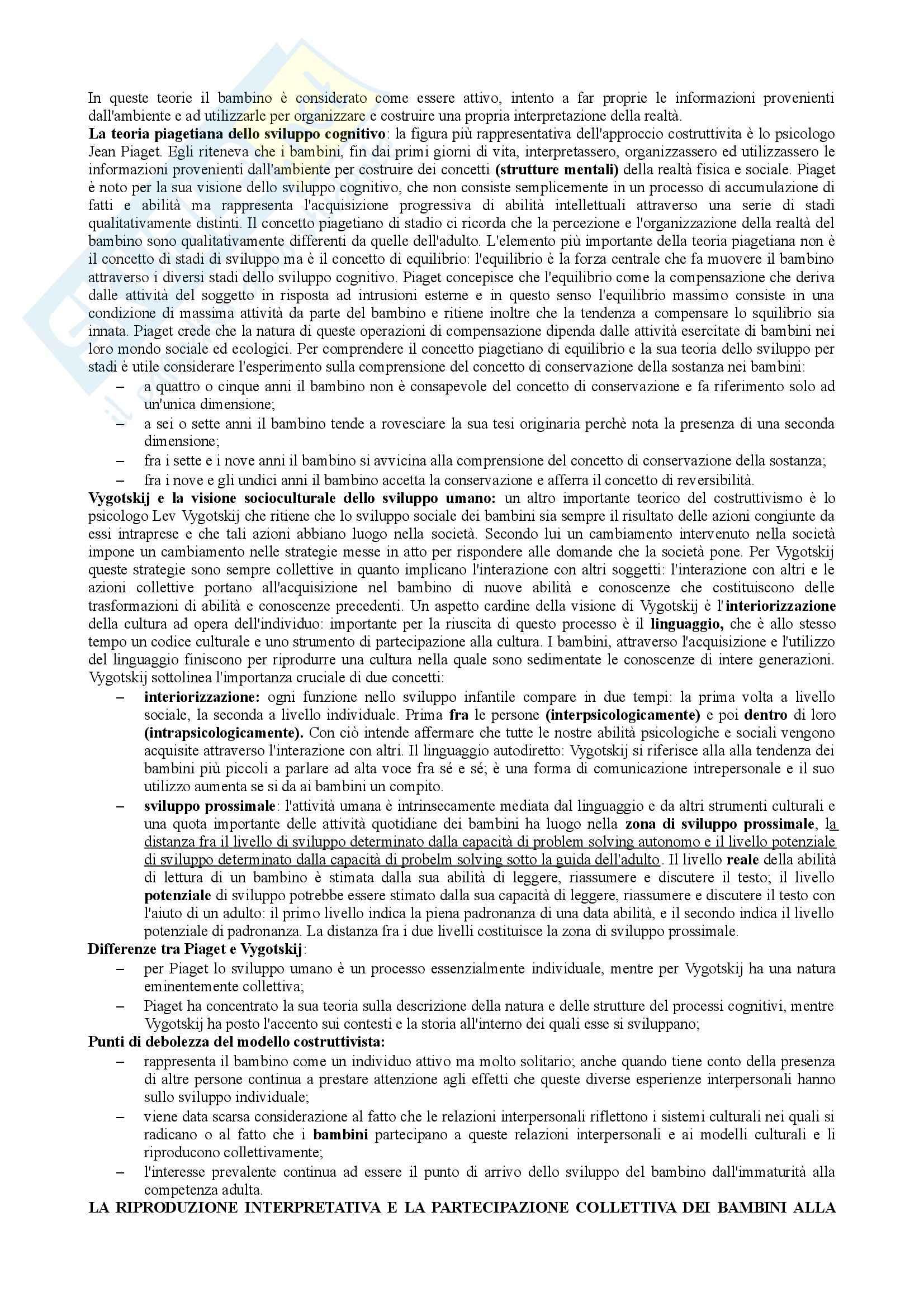 Riassunto esame Teorie e Metodi dell'Educazione, prof. Mortari, libro consigliato Le Culture dei Bambini, Corsaro Pag. 2