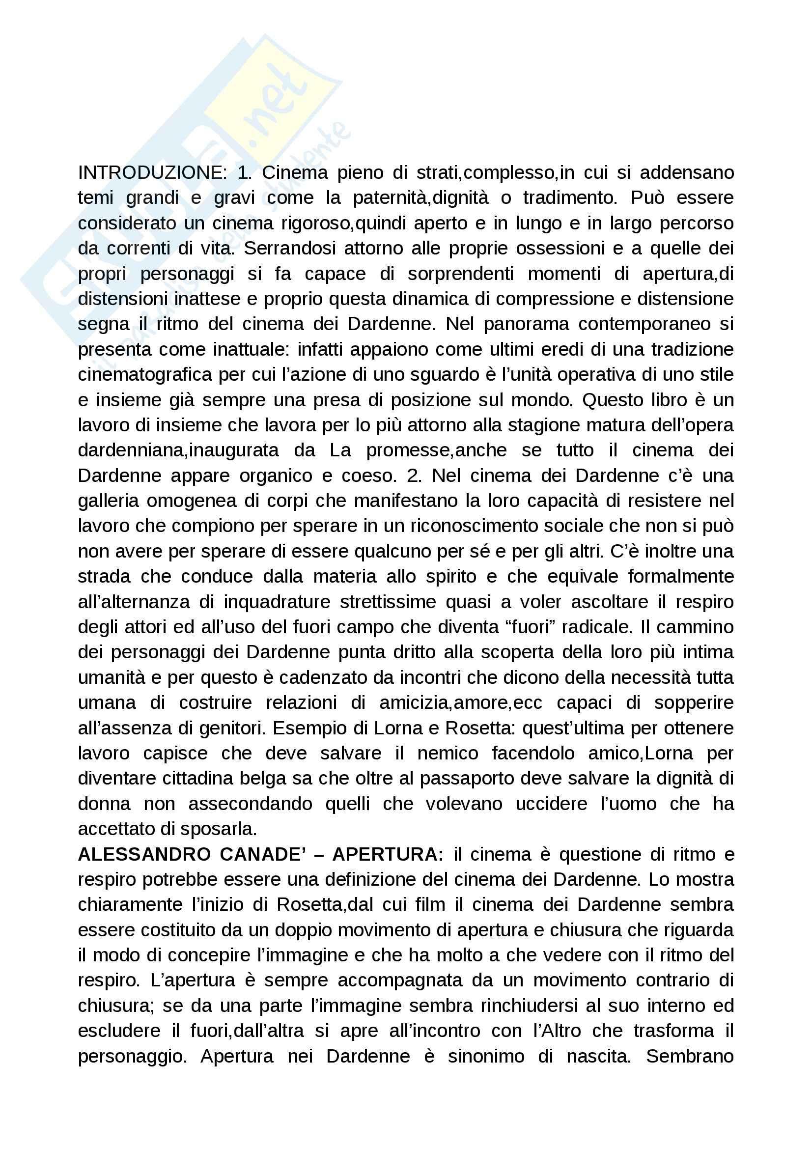 Riassunto esame Cinema, prof. Cervini, libro consigliato Jean Pierre e Luc Dardenne