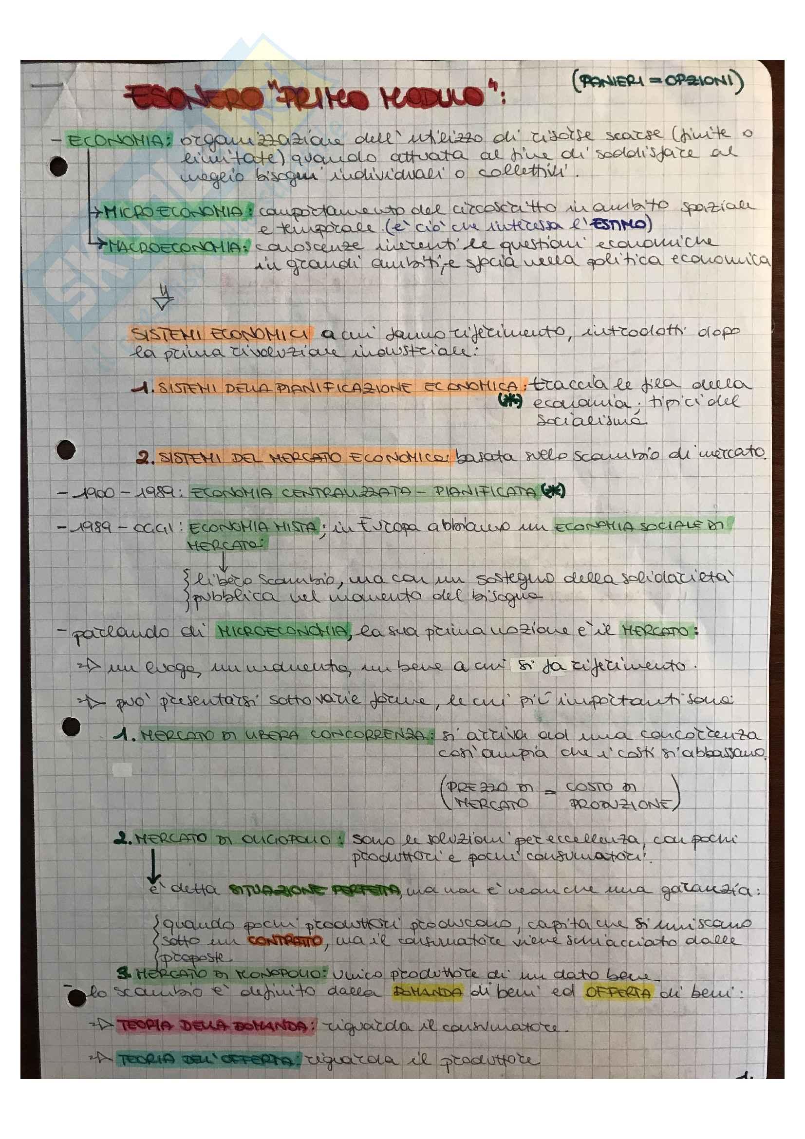 Appunti lezioni Economia ed estimo civile, prof. Saverio Miccoli