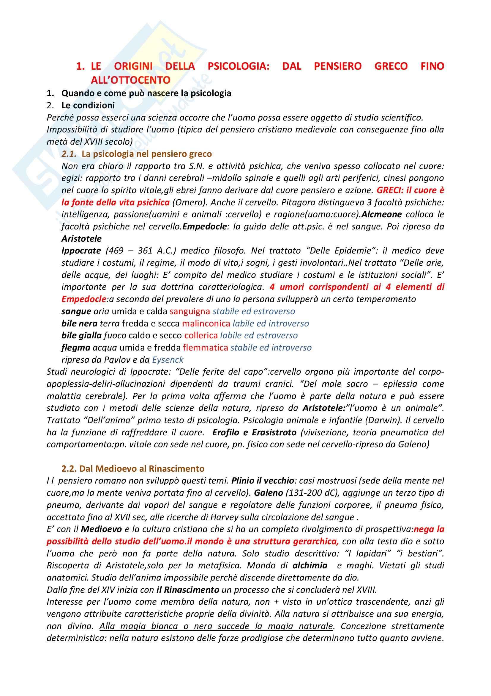 Riassunto esame Psicologia Generale, prof. Dazzi, libro consigliato Storia della Psicologia, Legrenzi