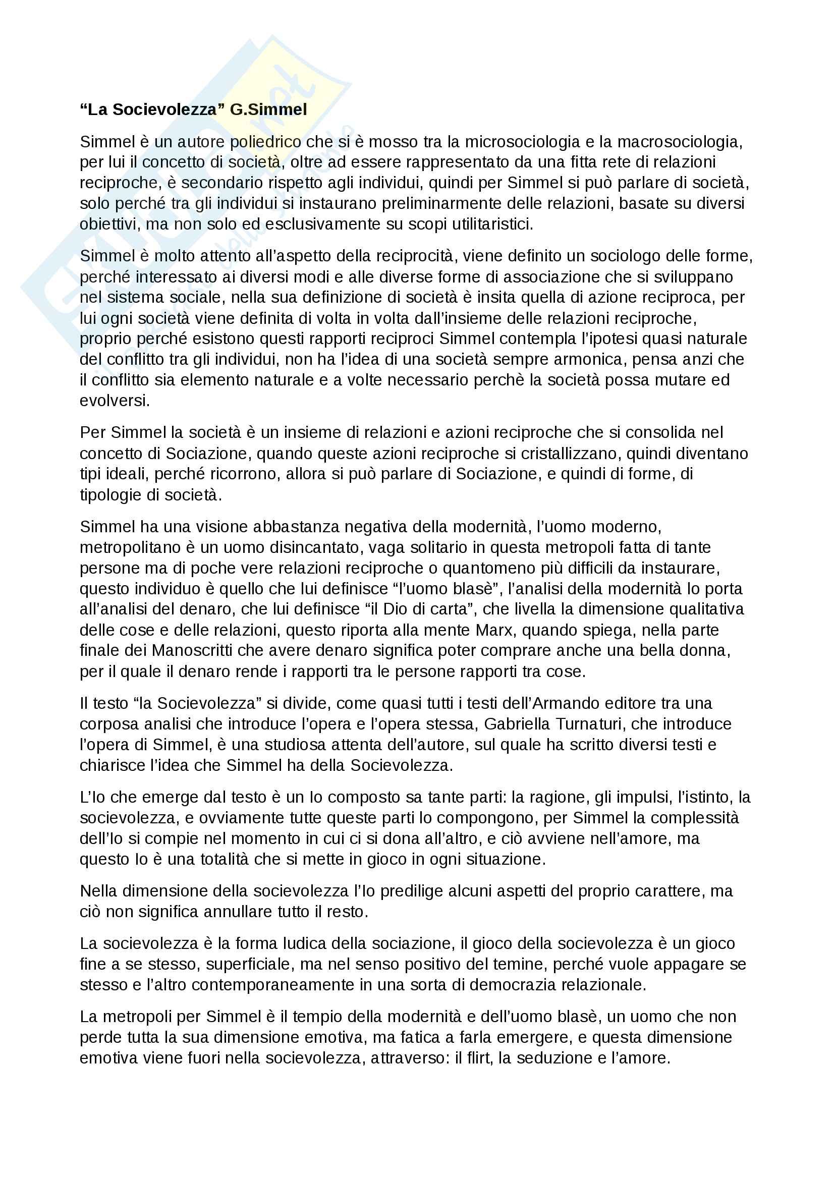 Appunti esame istituzioni di sociologia, prof. Ciampi, libro consigliato la Socievolezza