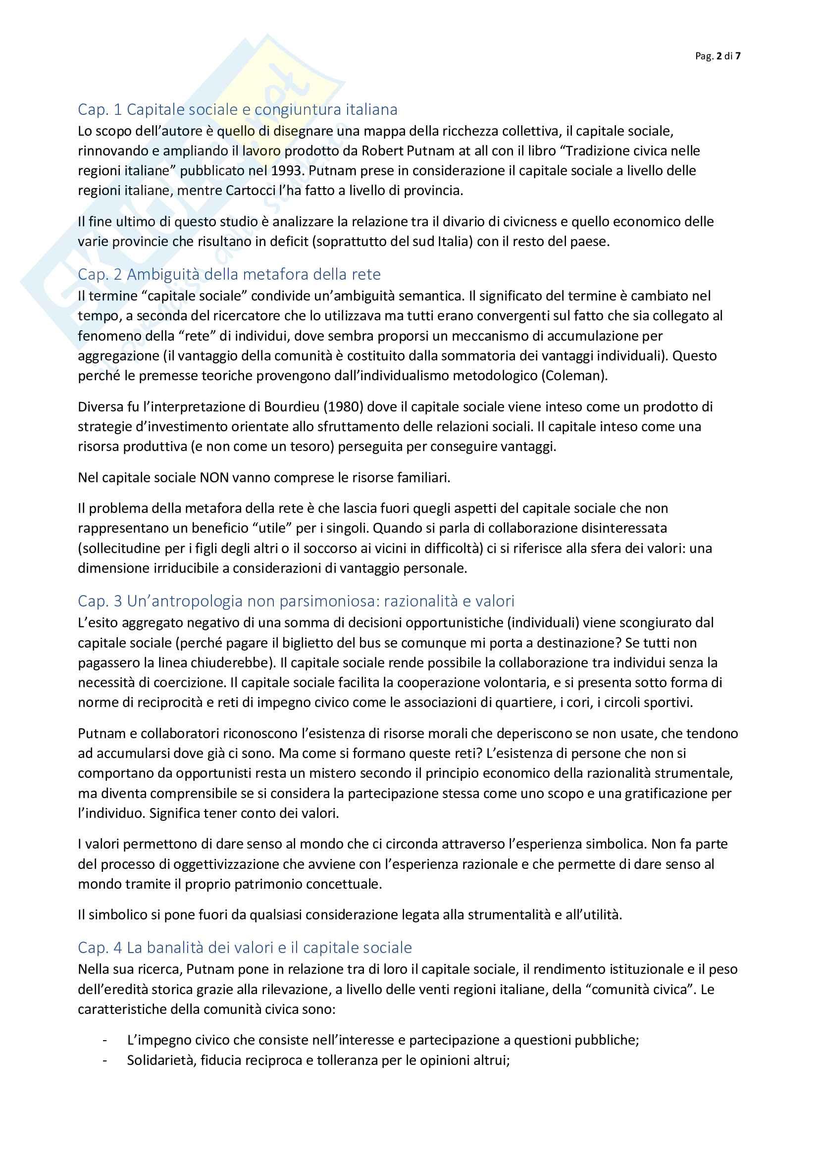 Riassunto esame metodologia scienze sociali, prof. Cellini, libro consigliato Mappe del tesoro, Cartocci Pag. 2