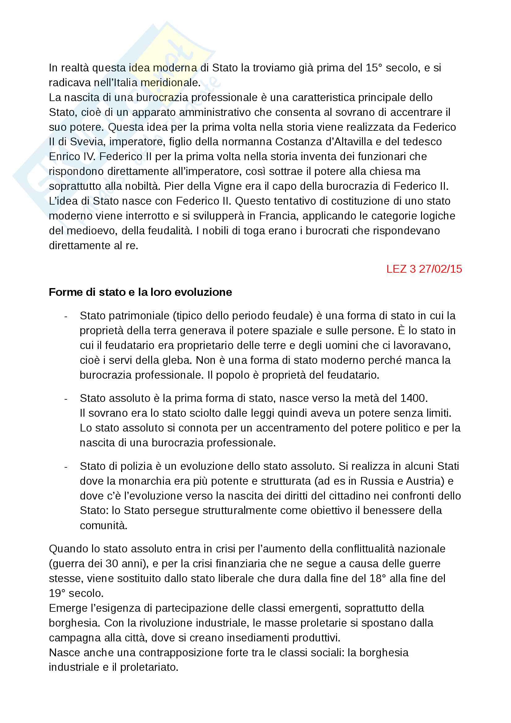 Stato: forme ed evoluzione - diritto pubblico Pag. 2