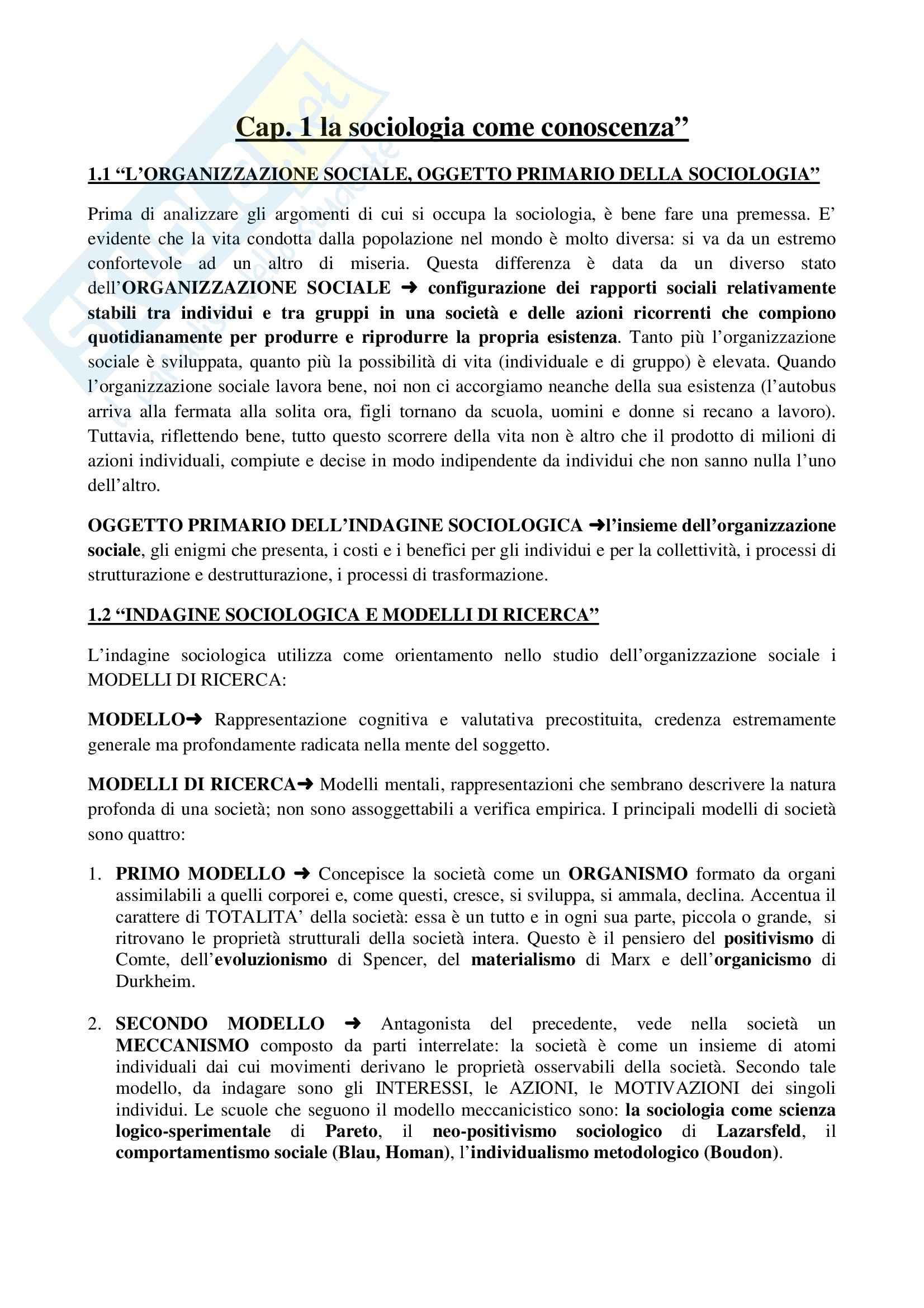 Riassunto esame Sociologia generale, prof. Moro, libro consigliato Manuale di sociologia, Gallino