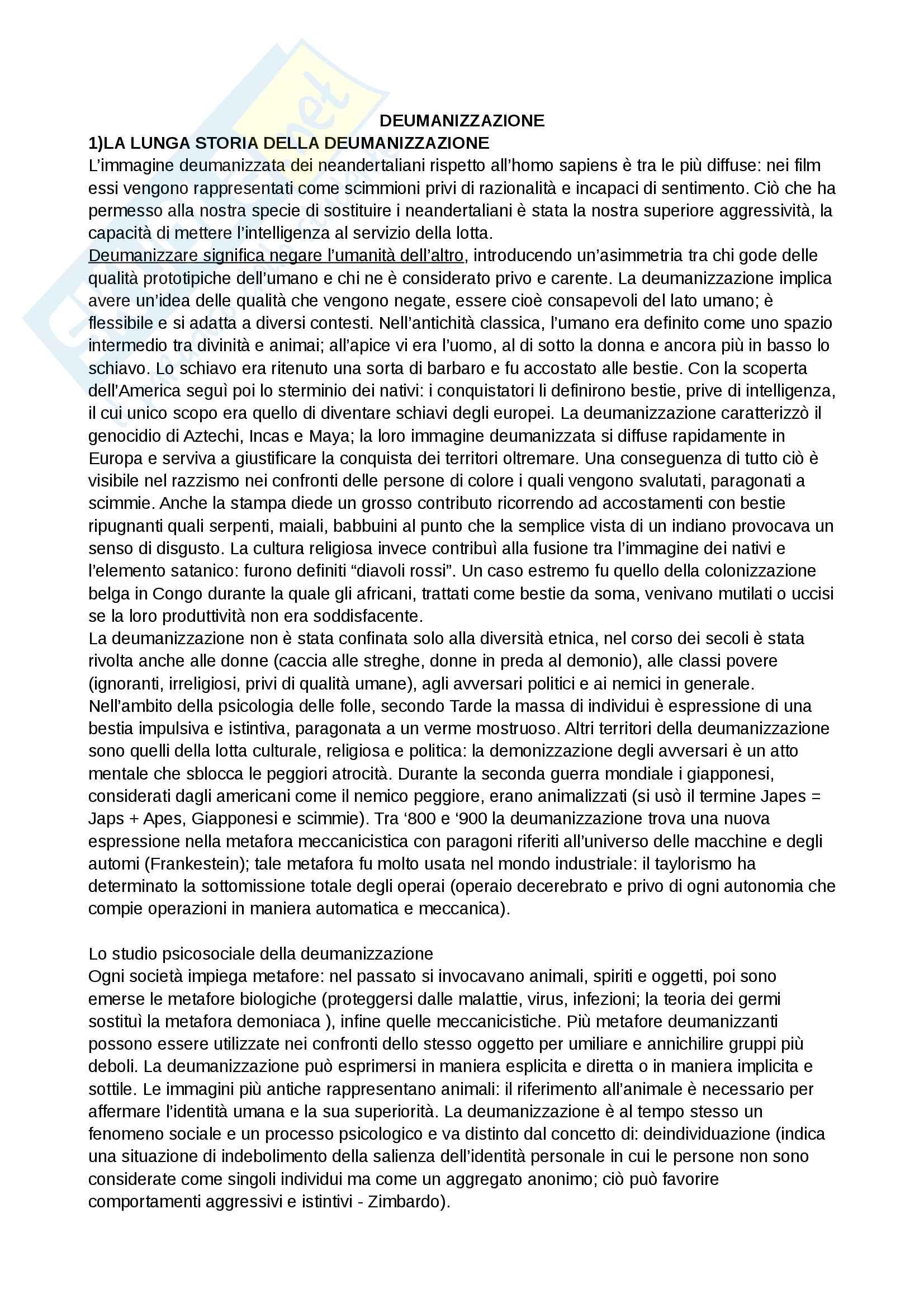 Riassunto esame e Appunti di Psicologia delle influenze sociali per l'esame della Prof. Volpato, libro consigliato: Deumanizzazione, Volpato