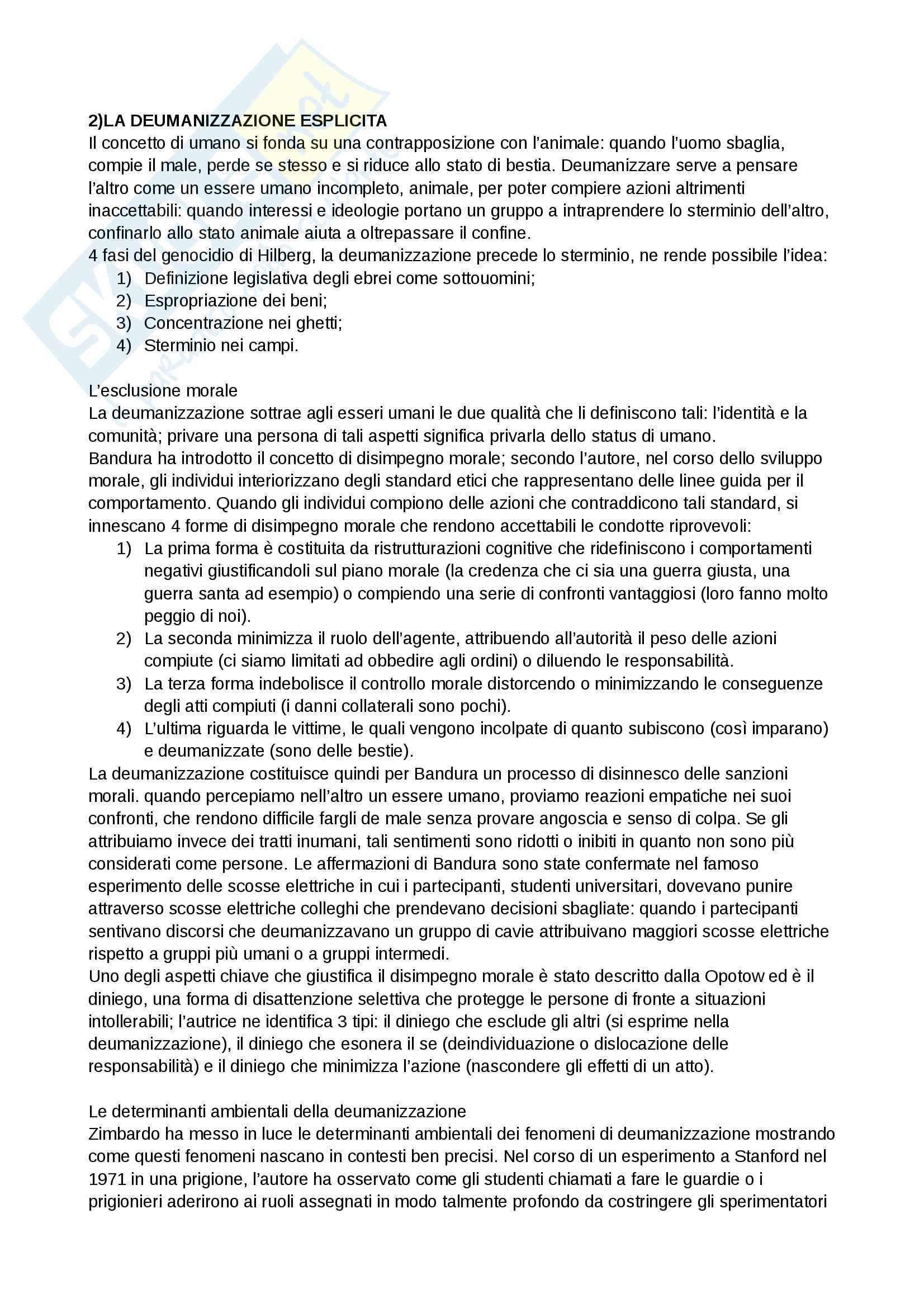 Riassunto esame e Appunti di Psicologia delle influenze sociali per l'esame della Prof. Volpato, libro consigliato: Deumanizzazione, Volpato Pag. 2