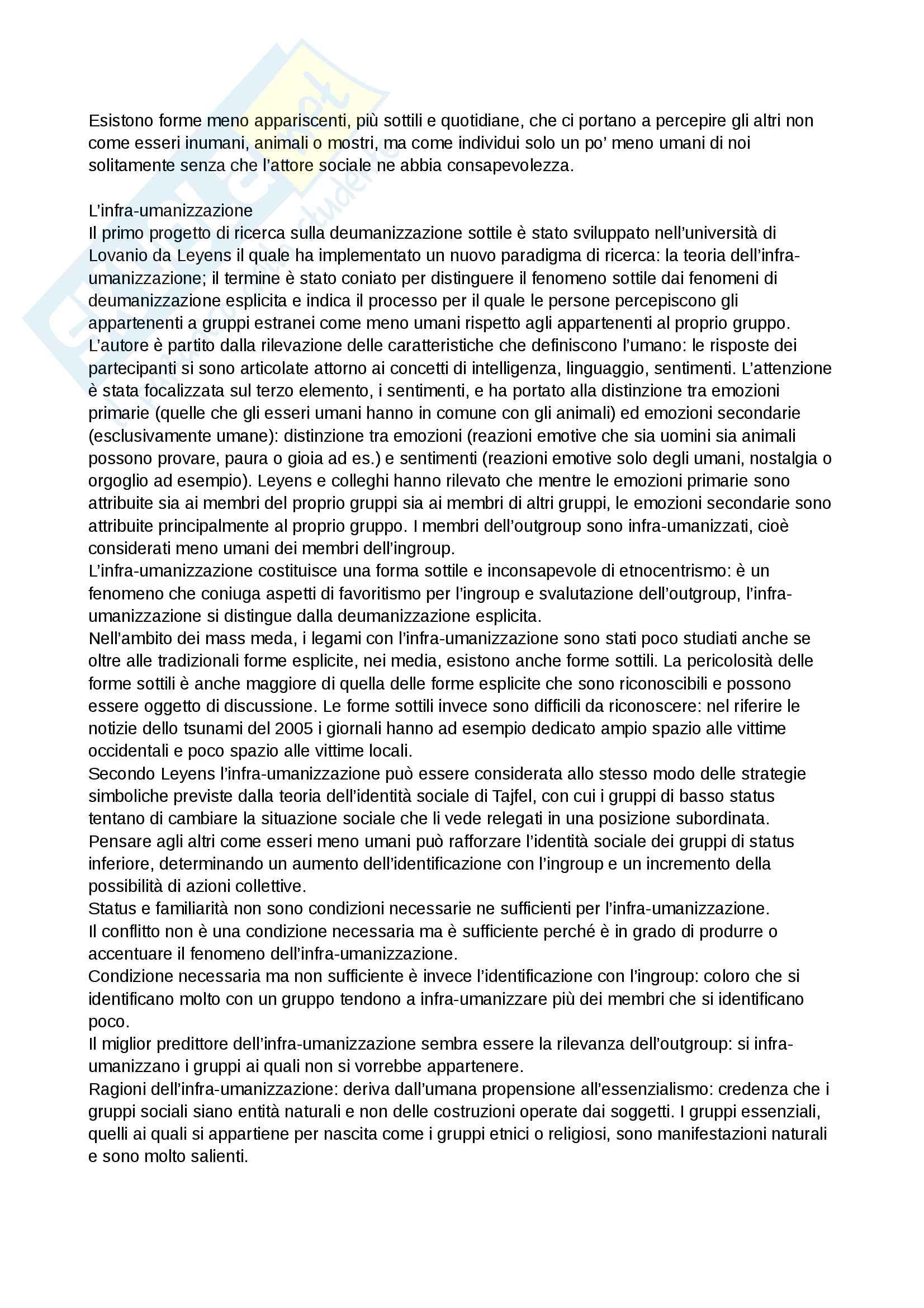 Riassunto esame e Appunti di Psicologia delle influenze sociali per l'esame della Prof. Volpato, libro consigliato: Deumanizzazione, Volpato Pag. 6
