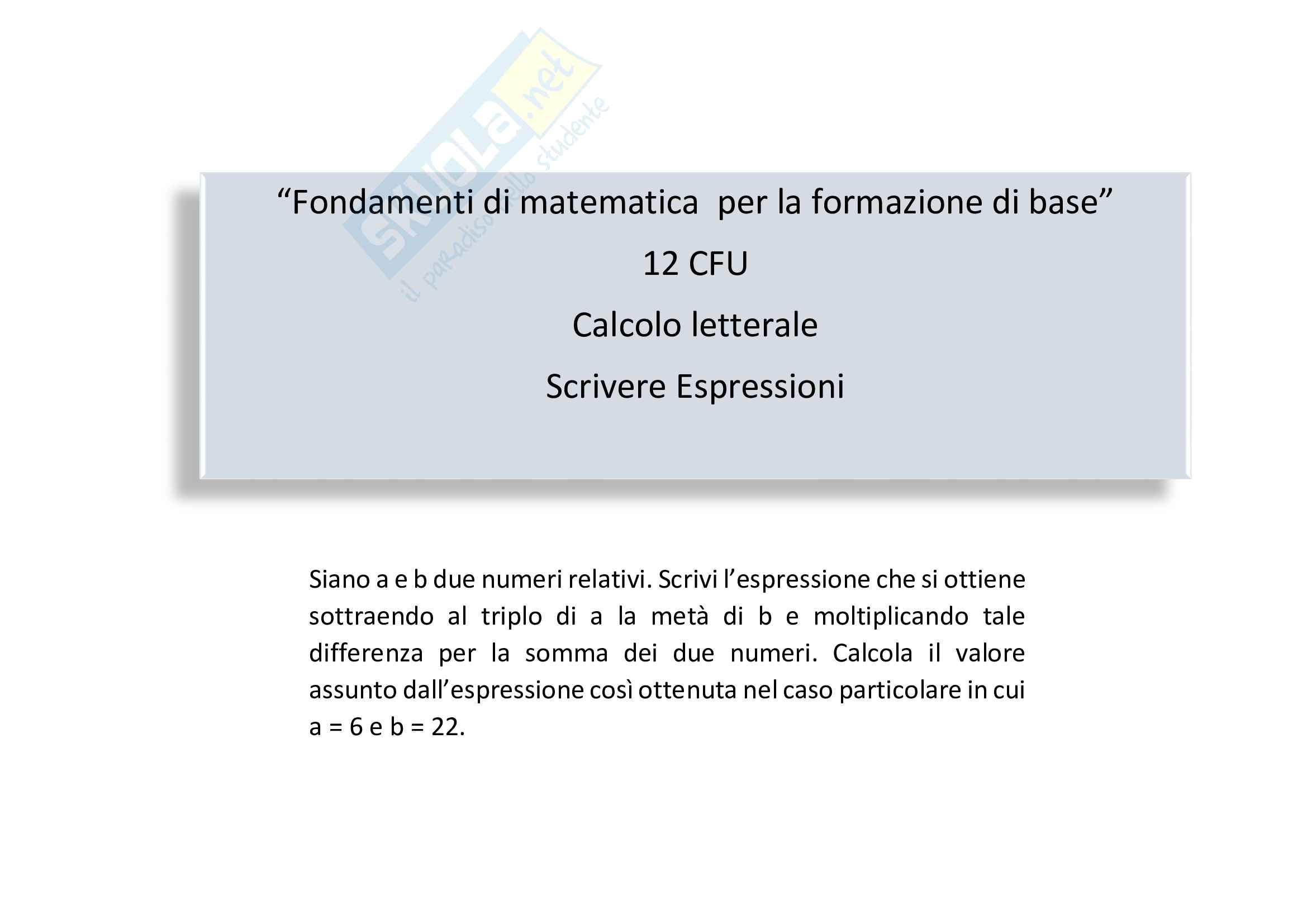 Calcolo letterale: tradurre in  espressioni