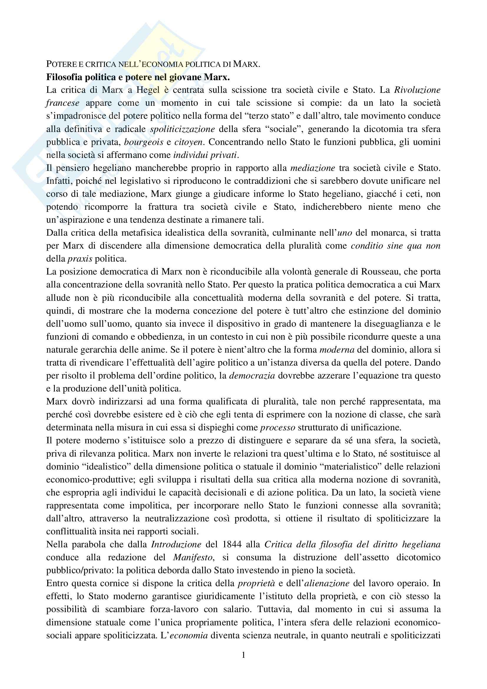 Riassunto esame Storia del pensiero politico contemporaneo, prof. Scuccimarra, libro consigliato Il potere, Duso
