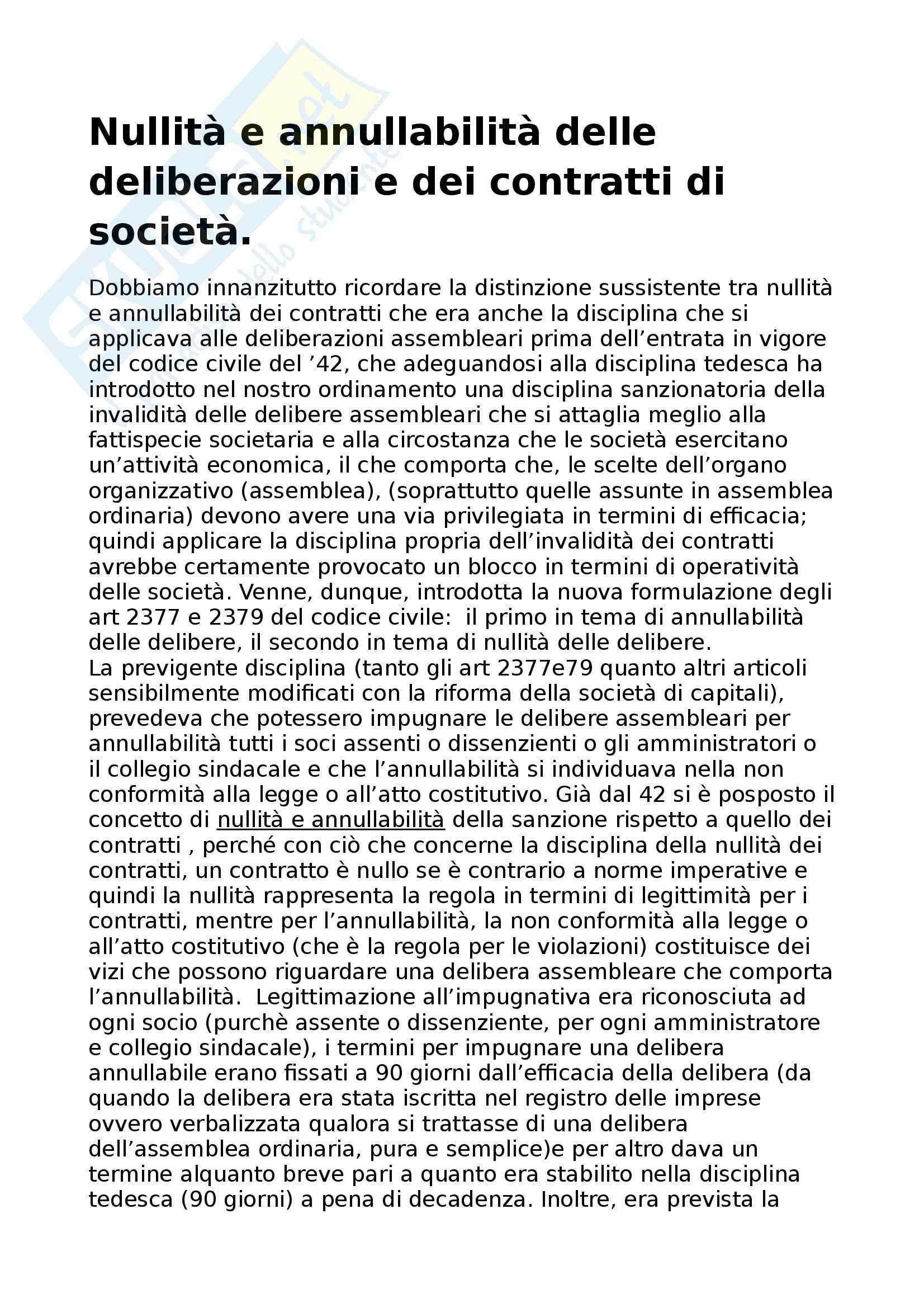 Diritto commerciale - Nullità e annullabilità delle deliberazioni e dei contratti di società