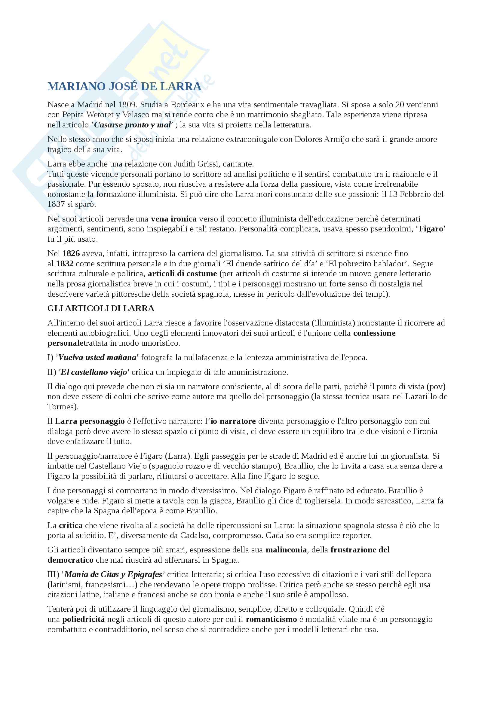 Appunti su Mariano José De Larra aa 2013