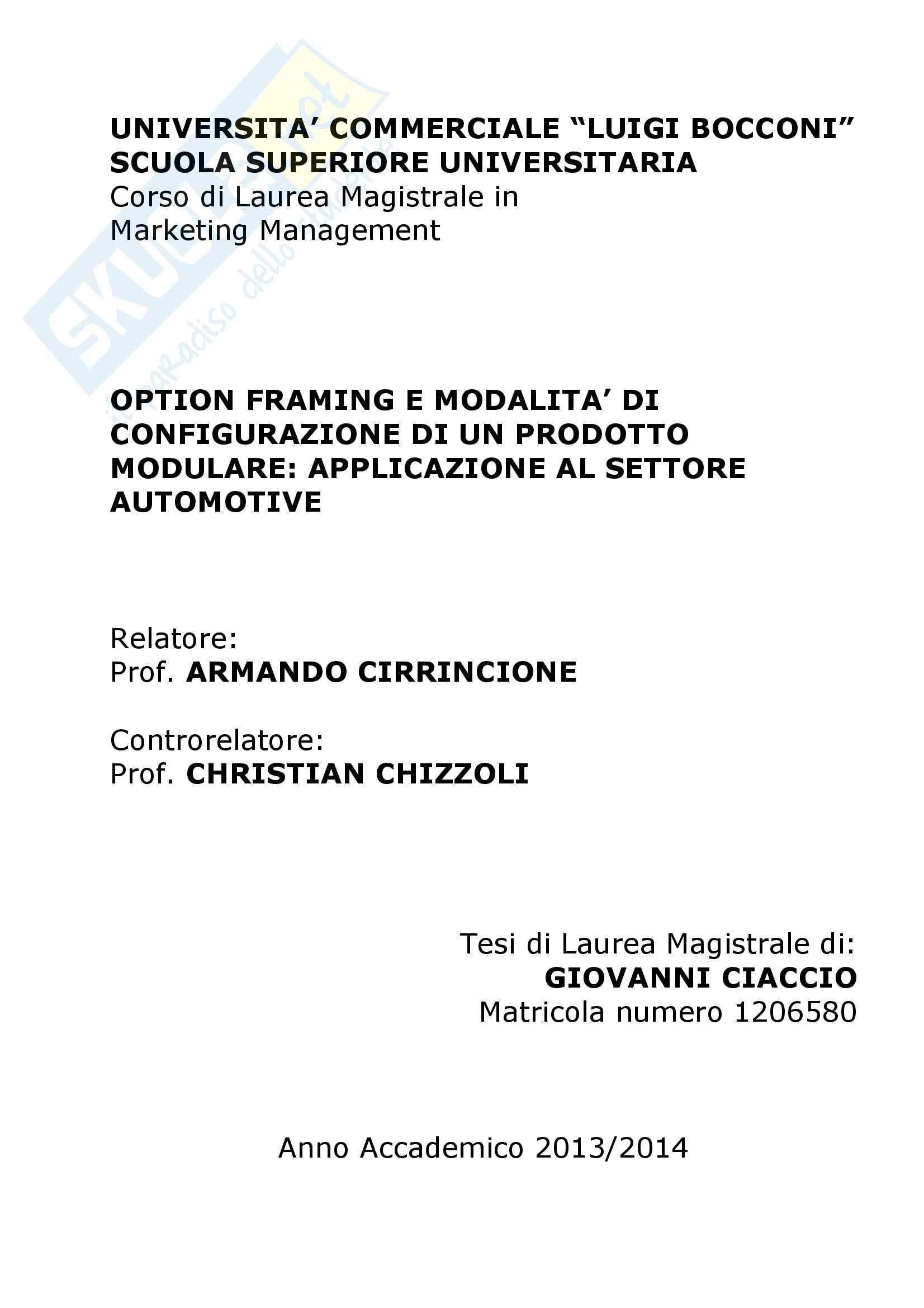 Tesi, Option framing e modalità di configurazione di un prodotto modulare: applicazione al settore automotive