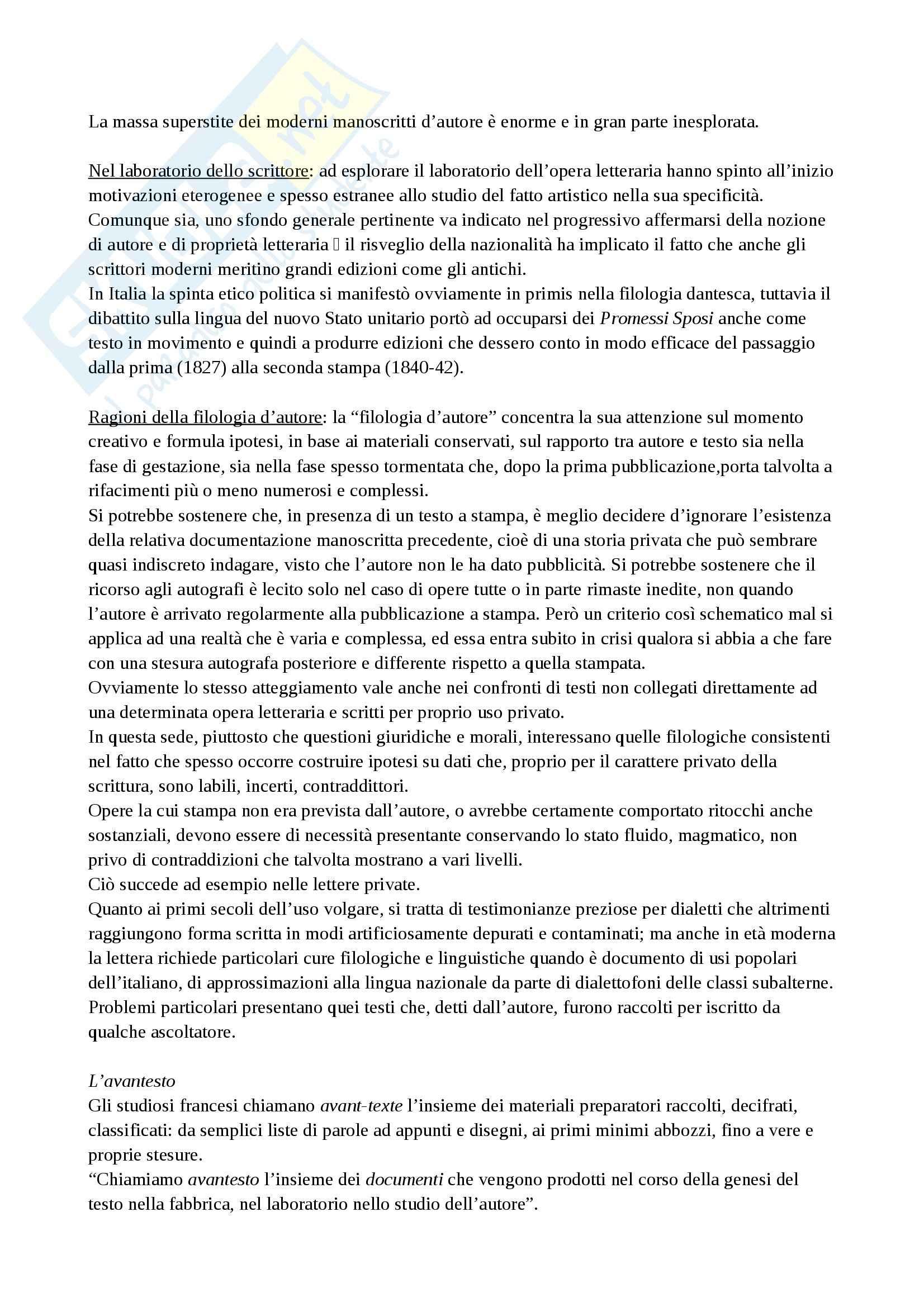 Riassunto esame Filologia, prof. Brambilla, libro consigliato Introduzione allo studio della filologia italiana, Stussi Pag. 21