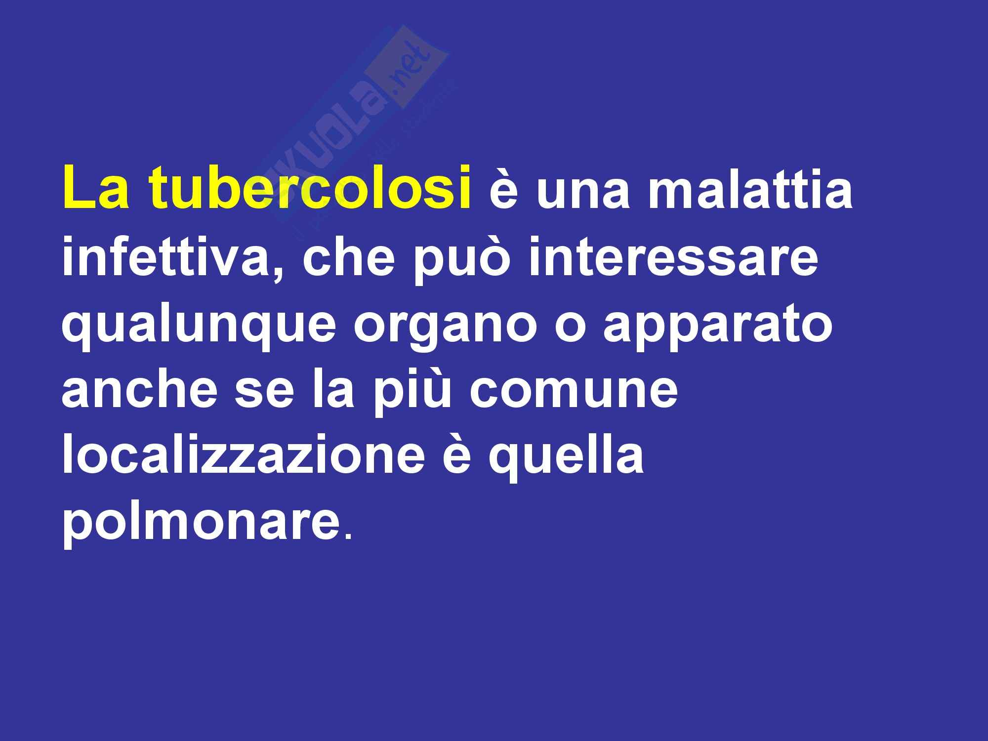 Malattie dell'apparato respiratorio - TBC Tubercolosi