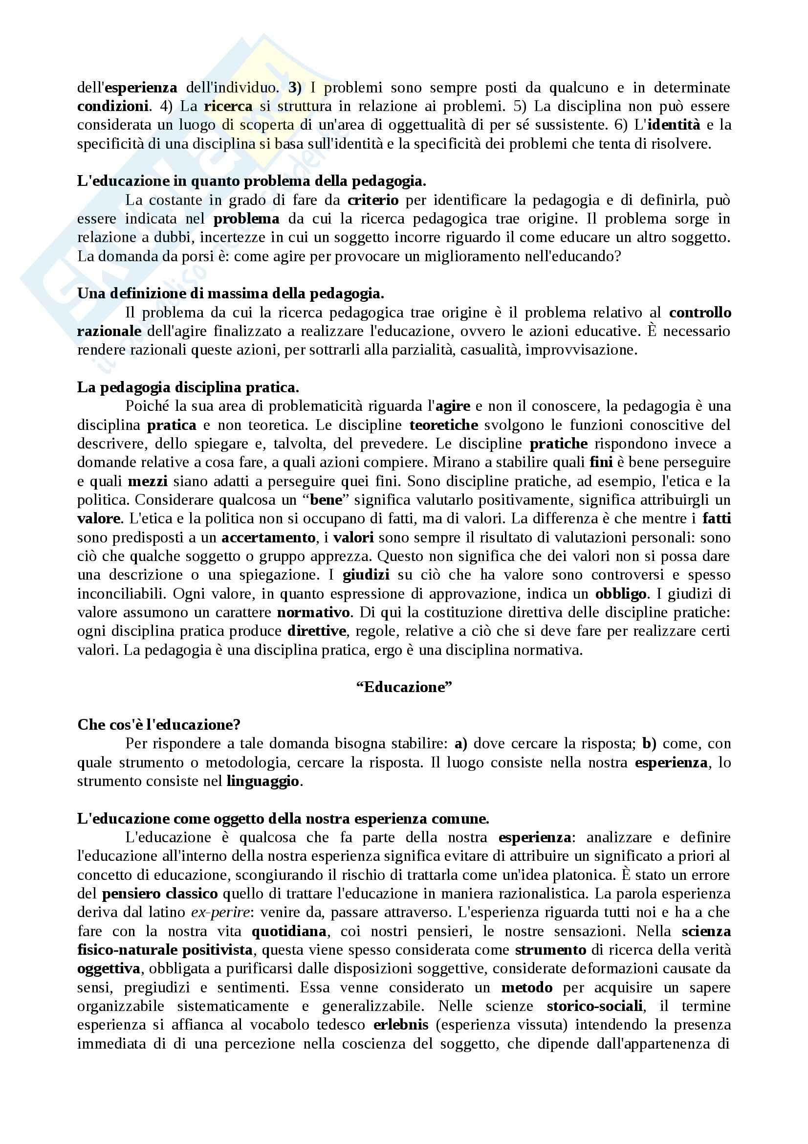 Riassunto esame Pedagogia Generale, prof. Colicchi, libro consigliato Educazione e Teoria dell'Educazione Pag. 2