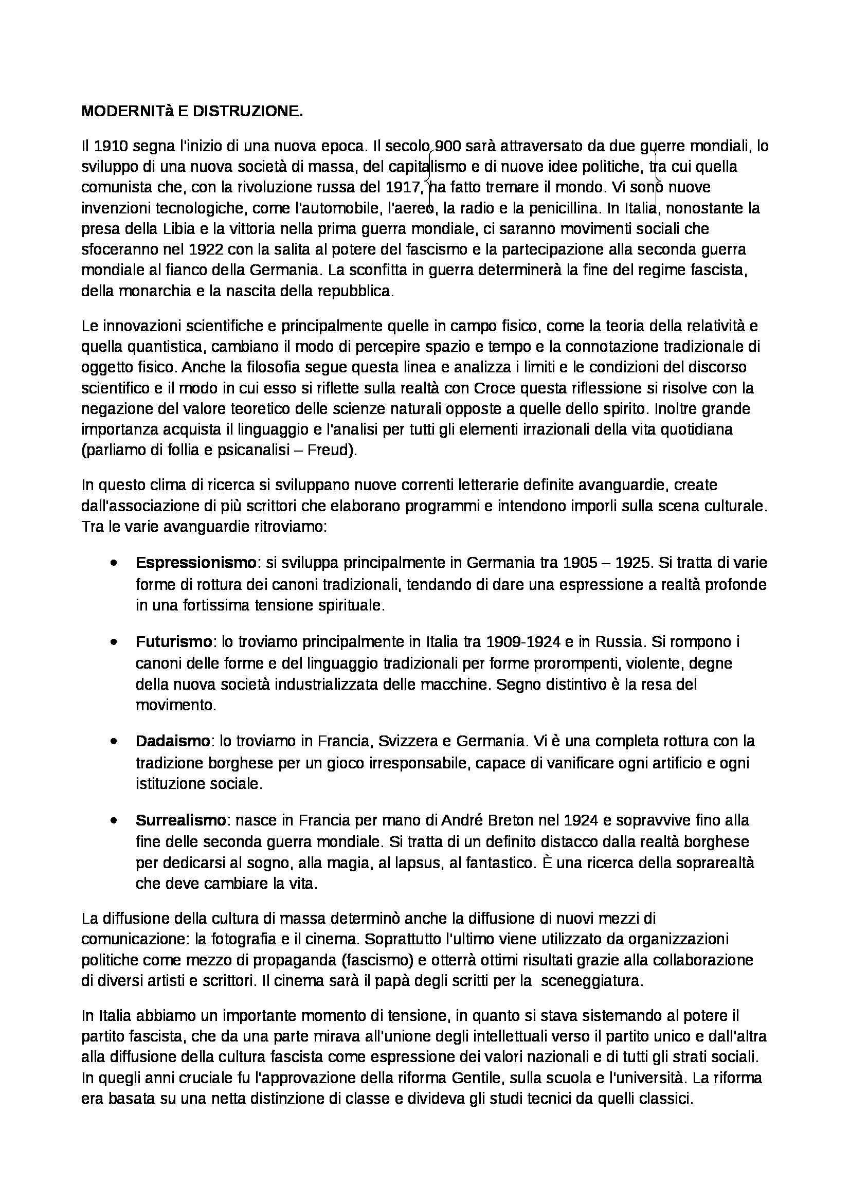 Riassunto esame Letteratura italiana, prof. Frabotta, libro consigliato Storia della letteratura italiana, Ferroni