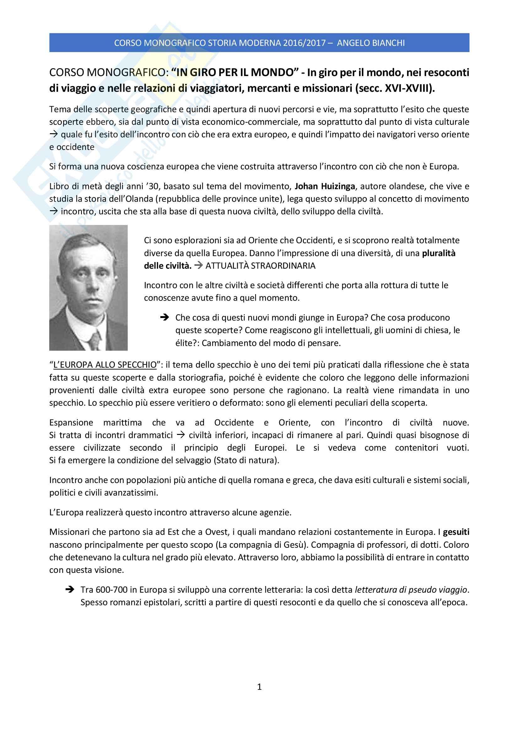 Appunti personali esame Storia Moderna Monografico, prof. Angelo Bianchi