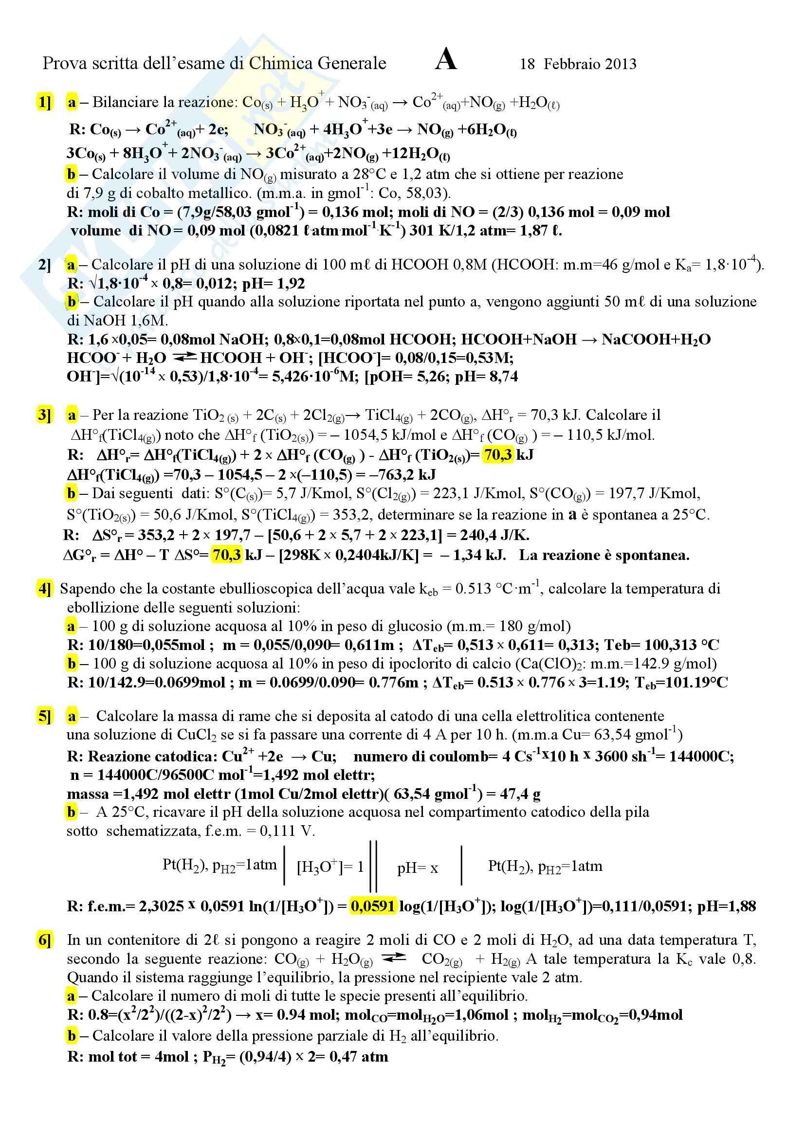 esercitazione M. Valigi Chimica generale e inorganica