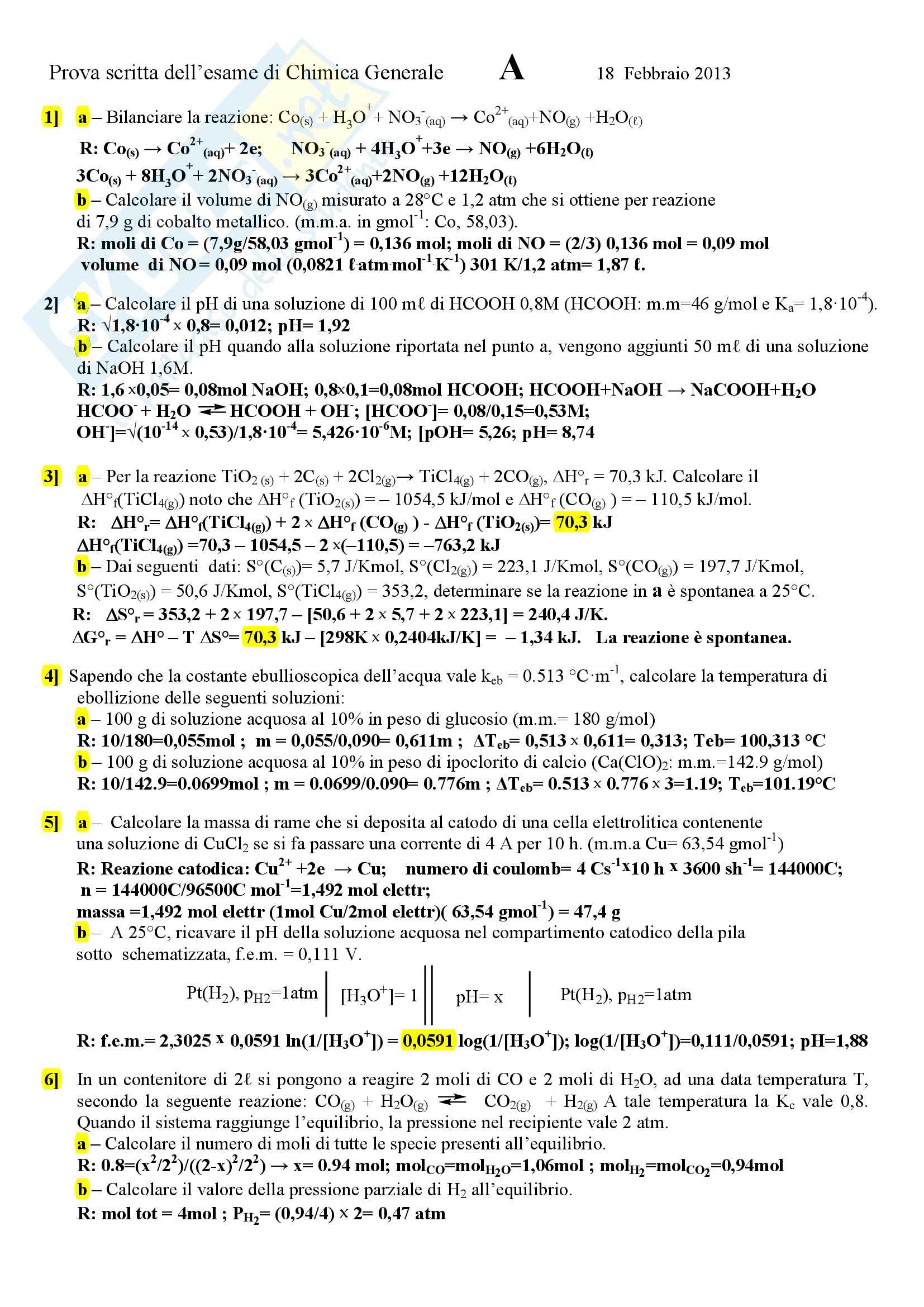 Chimica generale e inorganica - esercizi e soluzioni