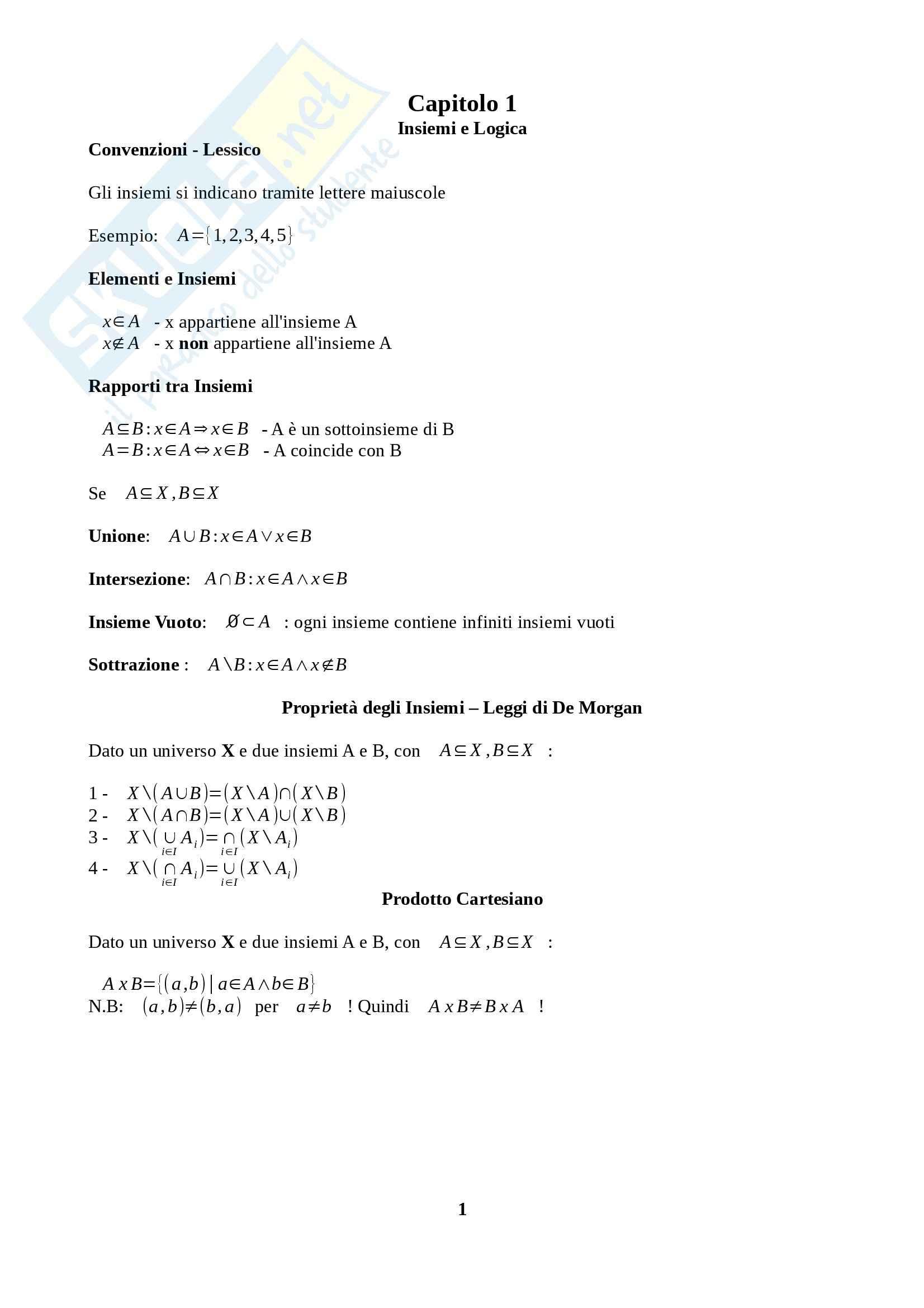 Fondamenti di Analisi 1 per l'Ingegneria - Appunti