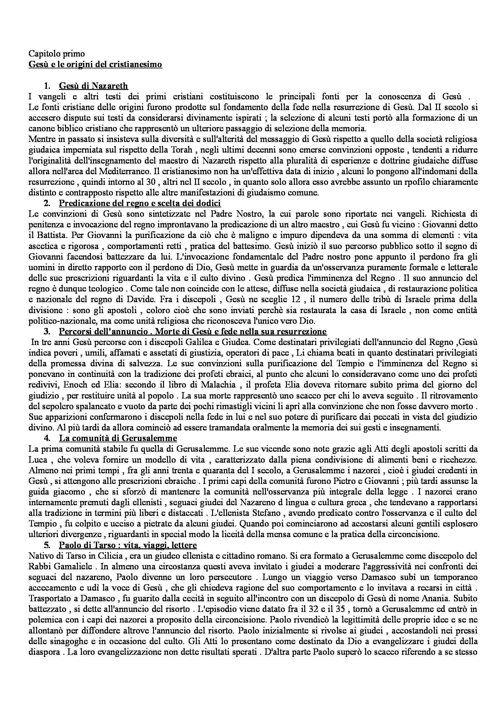 Riassunto esame Storia del Cristianesimo, prof. Boccadamo, libro consigliato Storia del Cristianesimo, Vian, Potestà