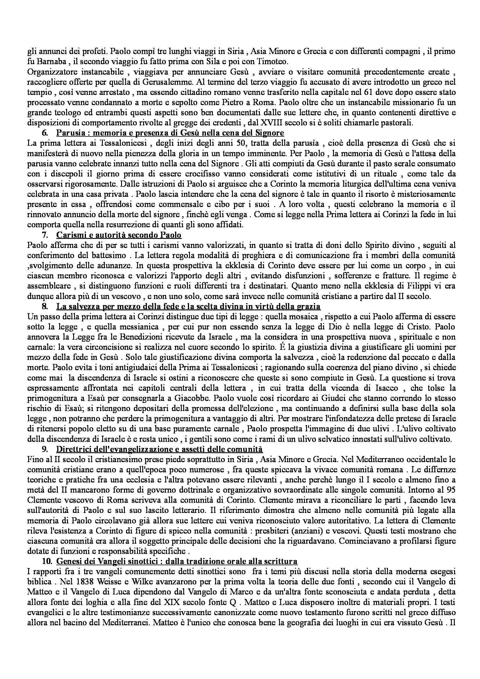 Riassunto esame Storia del Cristianesimo, prof. Boccadamo, libro consigliato Storia del Cristianesimo, Vian, Potestà Pag. 2