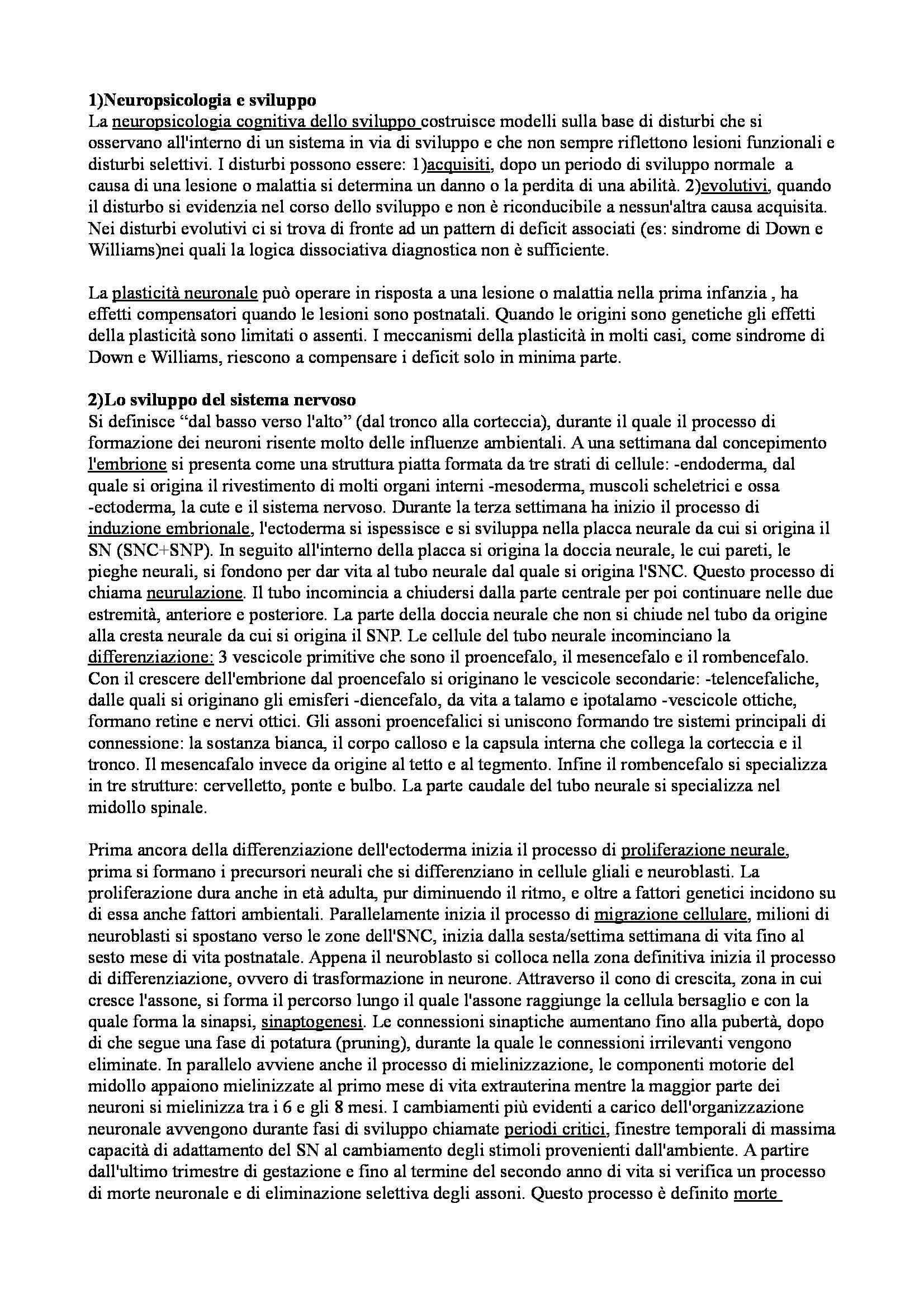 Riassunto esame Processi e Disturbi dell'Apprendimento, prof. Bonifacci, libro consigliato Neuropsicologia dello Sviluppo, Vicari, Caselli
