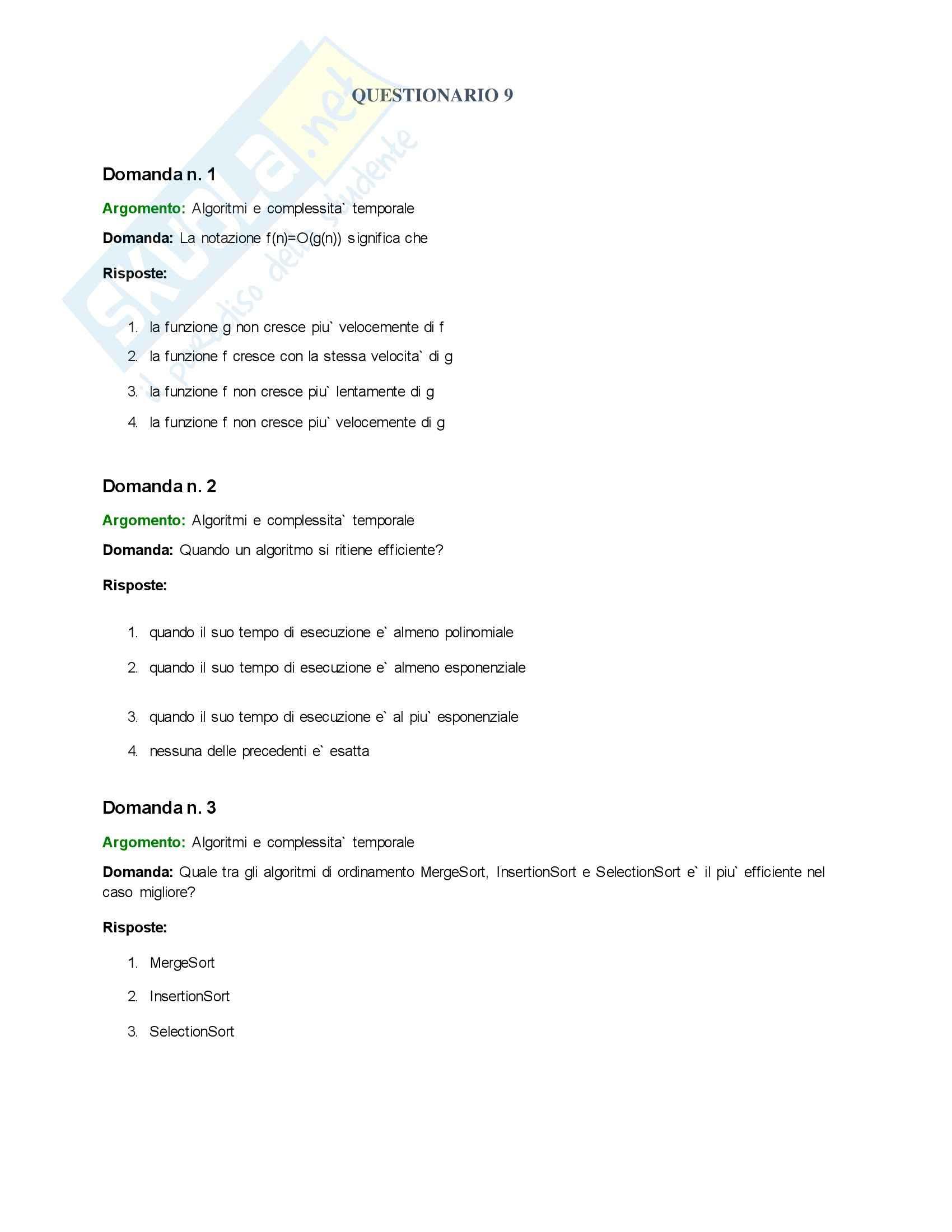 Informatica I - Esercizi questionario 10