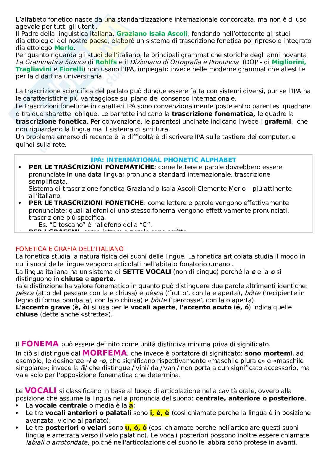 Riassunto esame Linguistica italiana I e didattica della lingua, prof. Franceschini, libro consigliato La lingua italiana: storia, testi, strumenti, Marazzini, Maconi Pag. 11