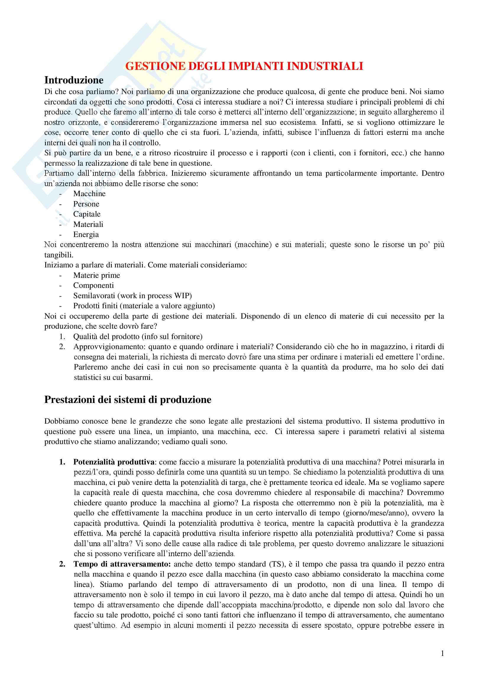 Appunti rielaborati esame di Gestione degli impianti industriali, prof Francesco Costantino