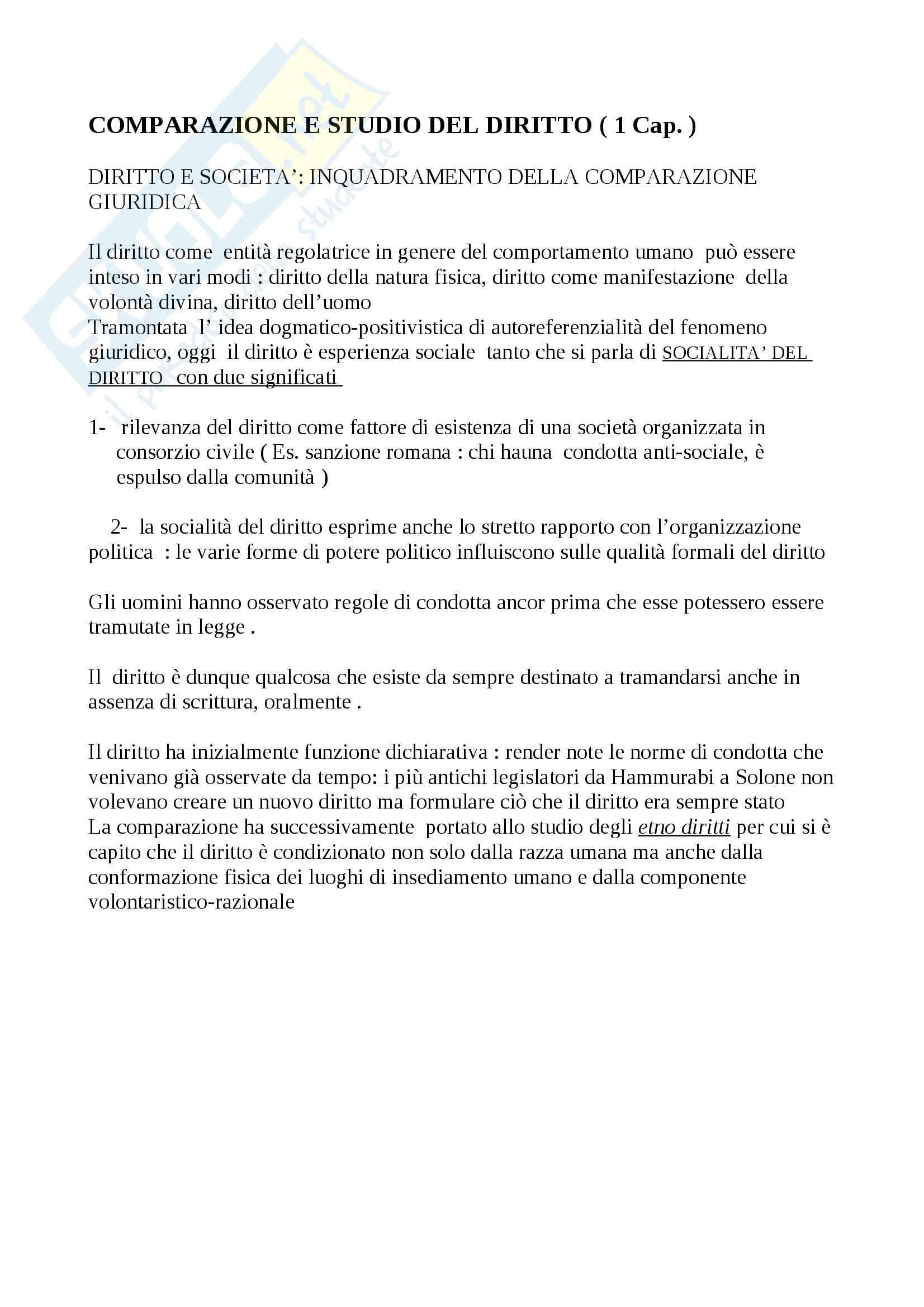 Riassunto esame Diritto, prof. Calzolaio, libro consigliato Comparazione giuridica e diritto europeo, Moccia