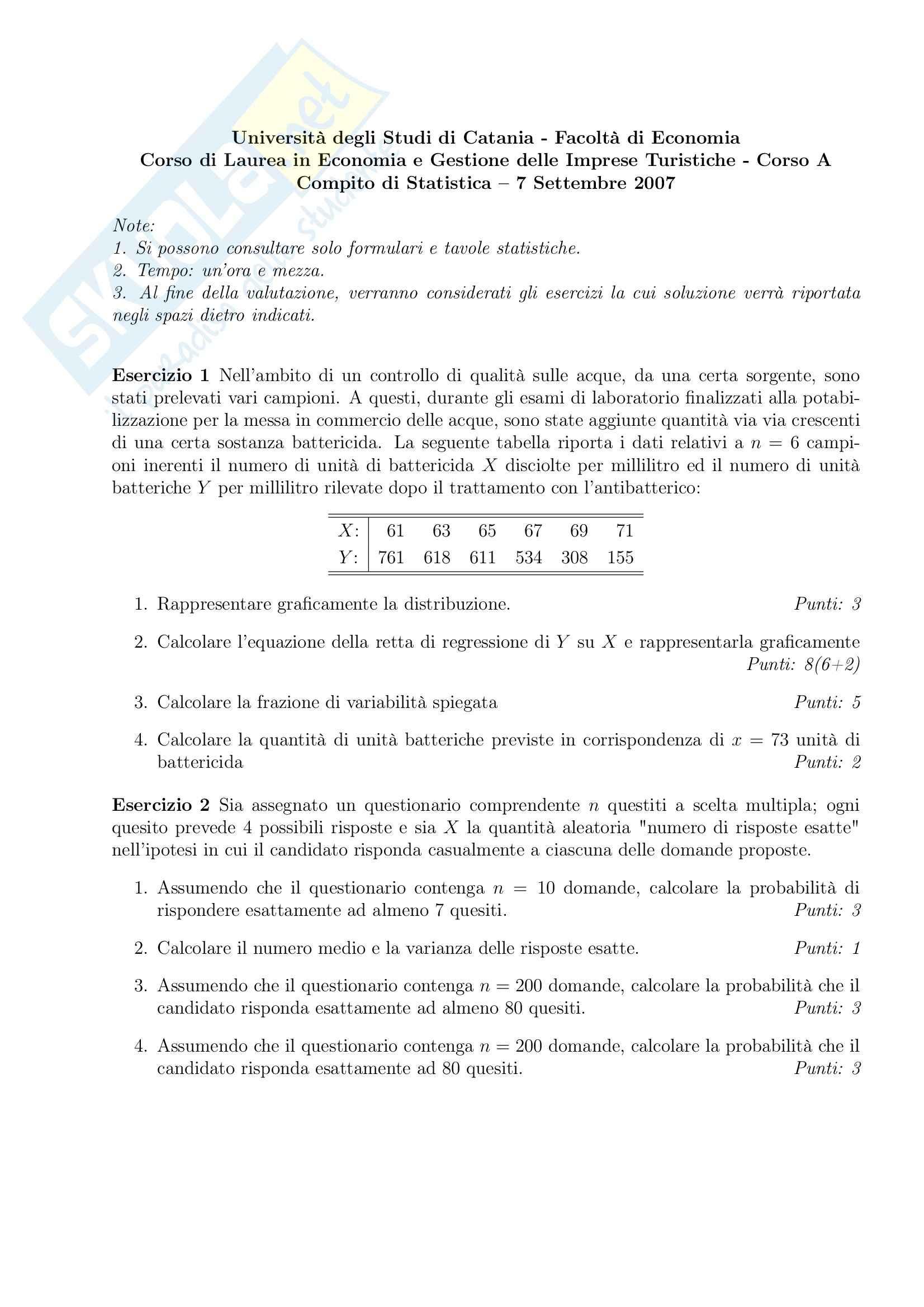 Statistica - Esercizi