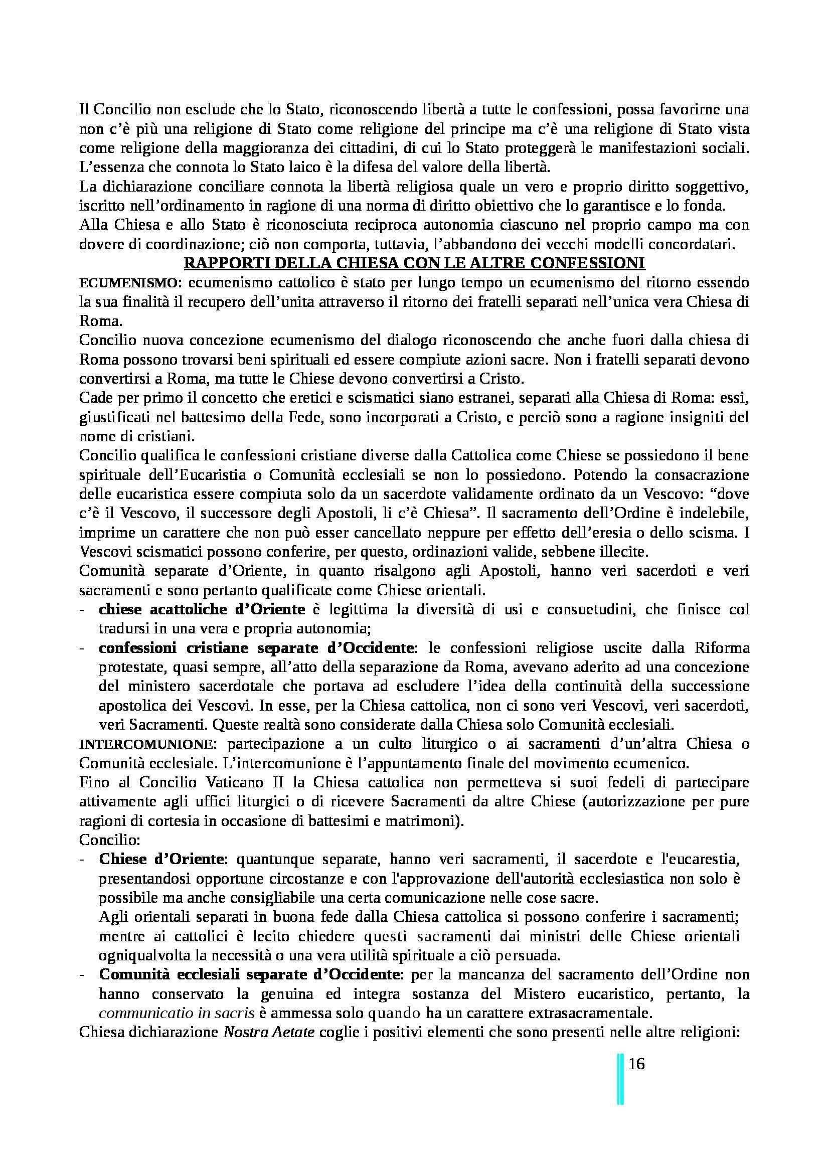 Riassunto esame Diritto Canonico, prof. Zanotti, libro consigliato Introduzione allo Studio del Diritto Canonico Moderno. Tomo I, Caputo Pag. 16