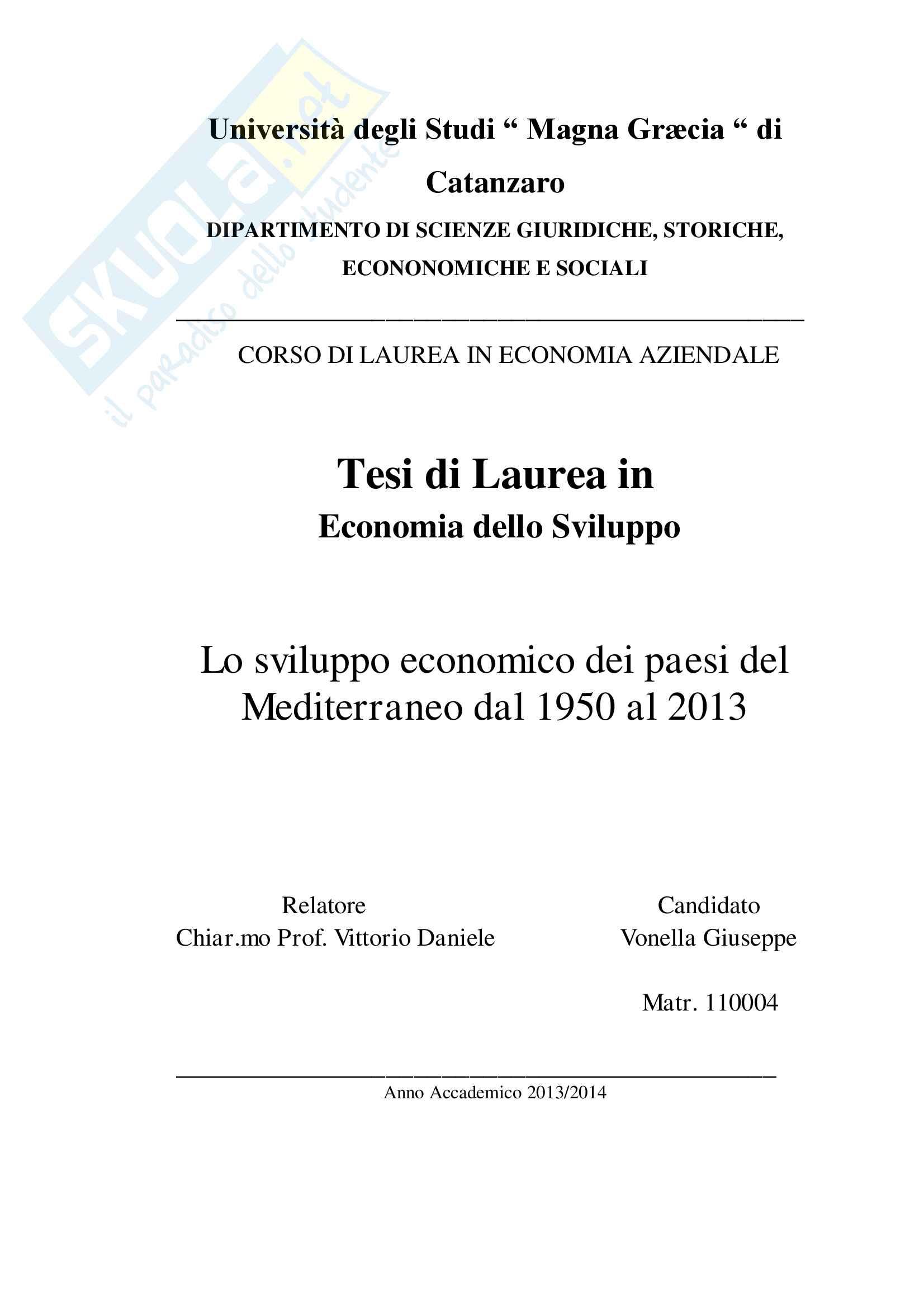 Tesi integrale Lo sviluppo economico dei Paesi del mediterraneo dal 1950 al 2013 Vonella Giuseppe