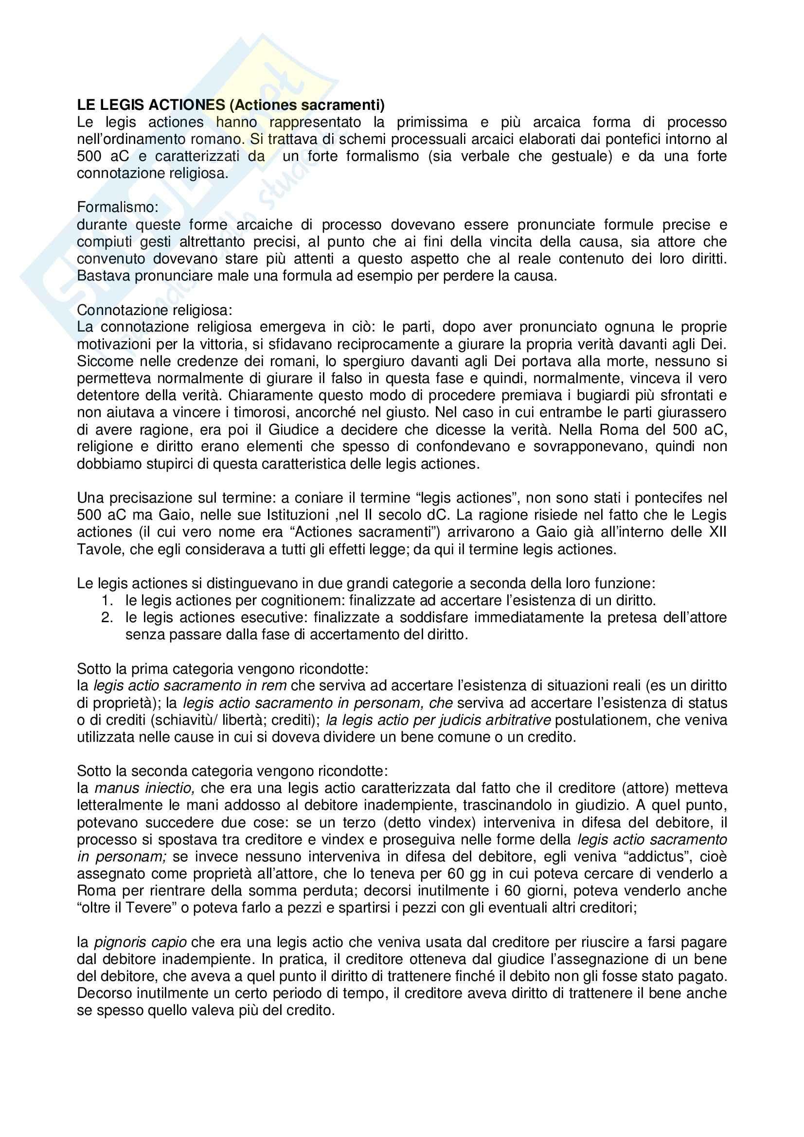 Diritto romano -  Legis Actiones