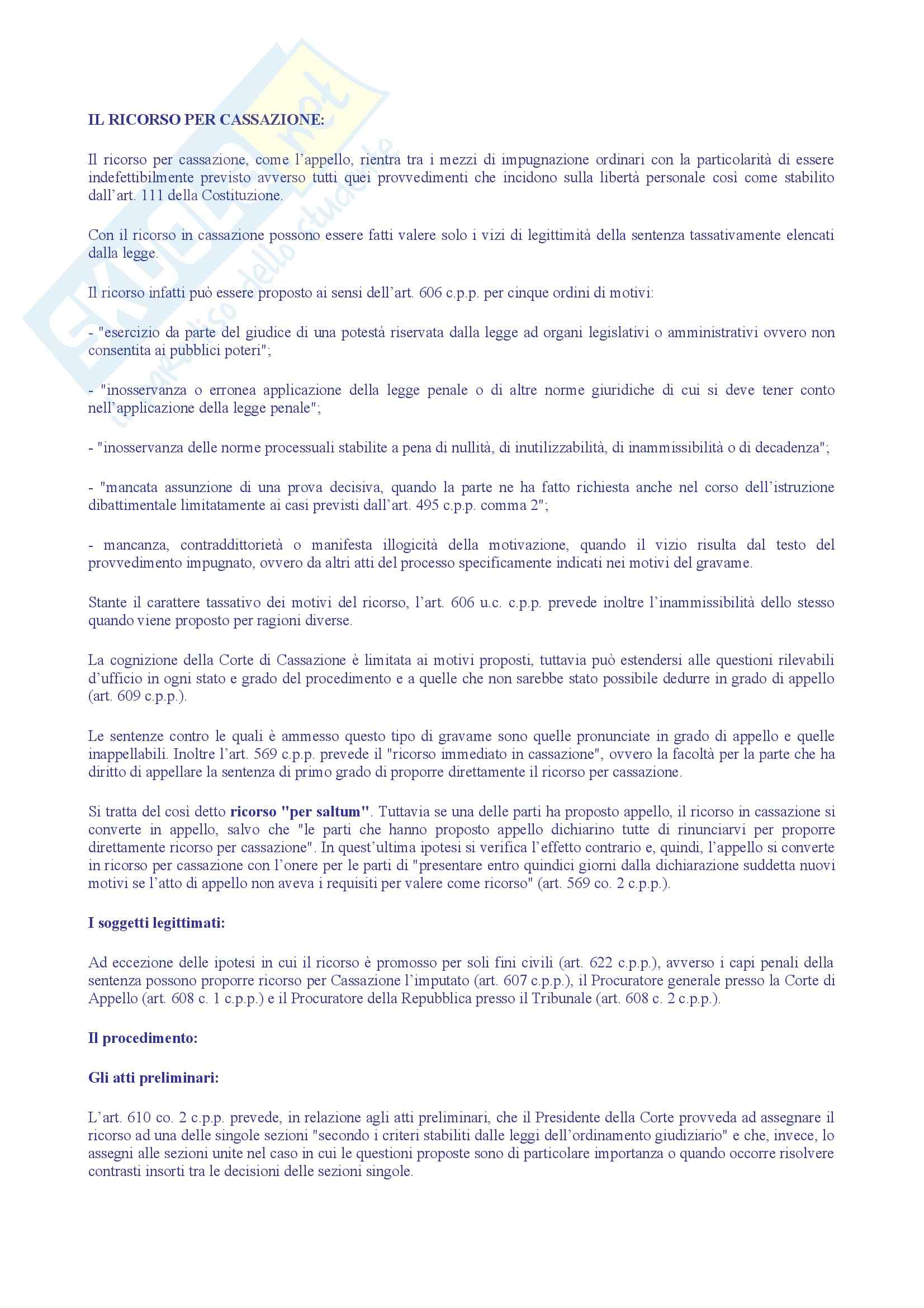 Diritto amministrativo II - Ricorso per Cassazione