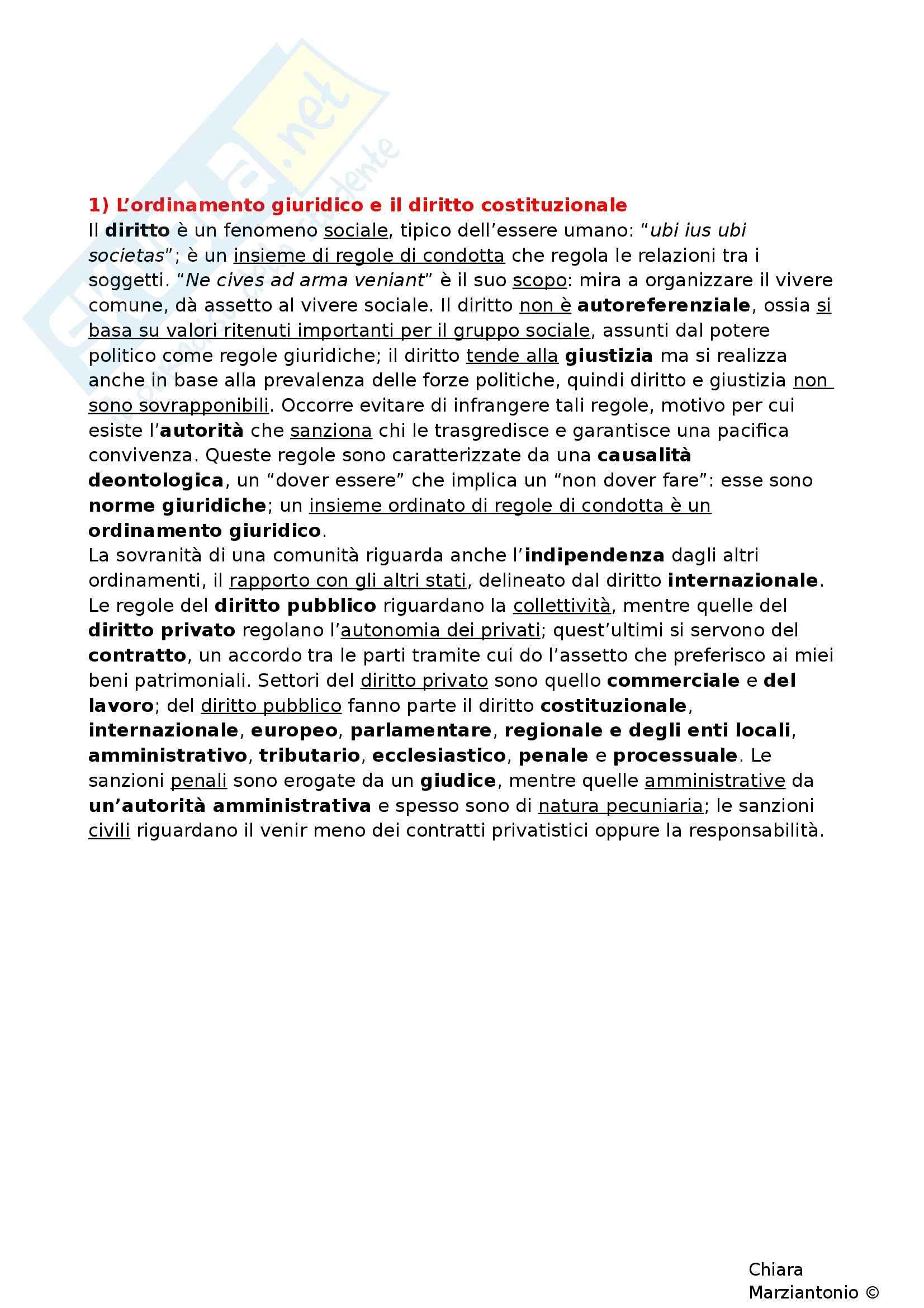 Riassunto esame Istituzioni di Diritto Pubblico, prof. Corsi, libro consigliato Corso di Diritto Pubblico, Barbera, Fusaro - cap. 1