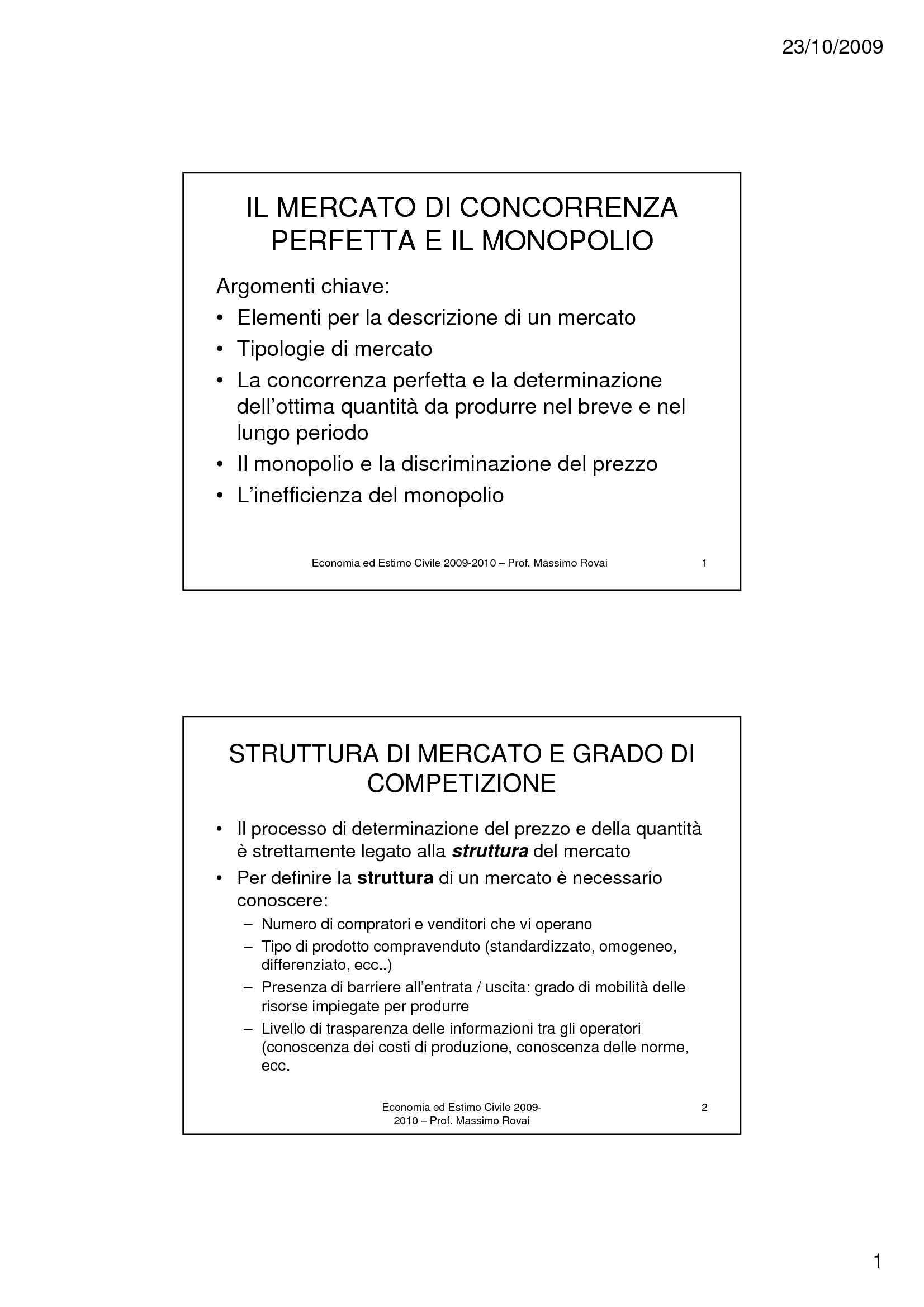 Elementi di economia - Concorrenza e monopolio